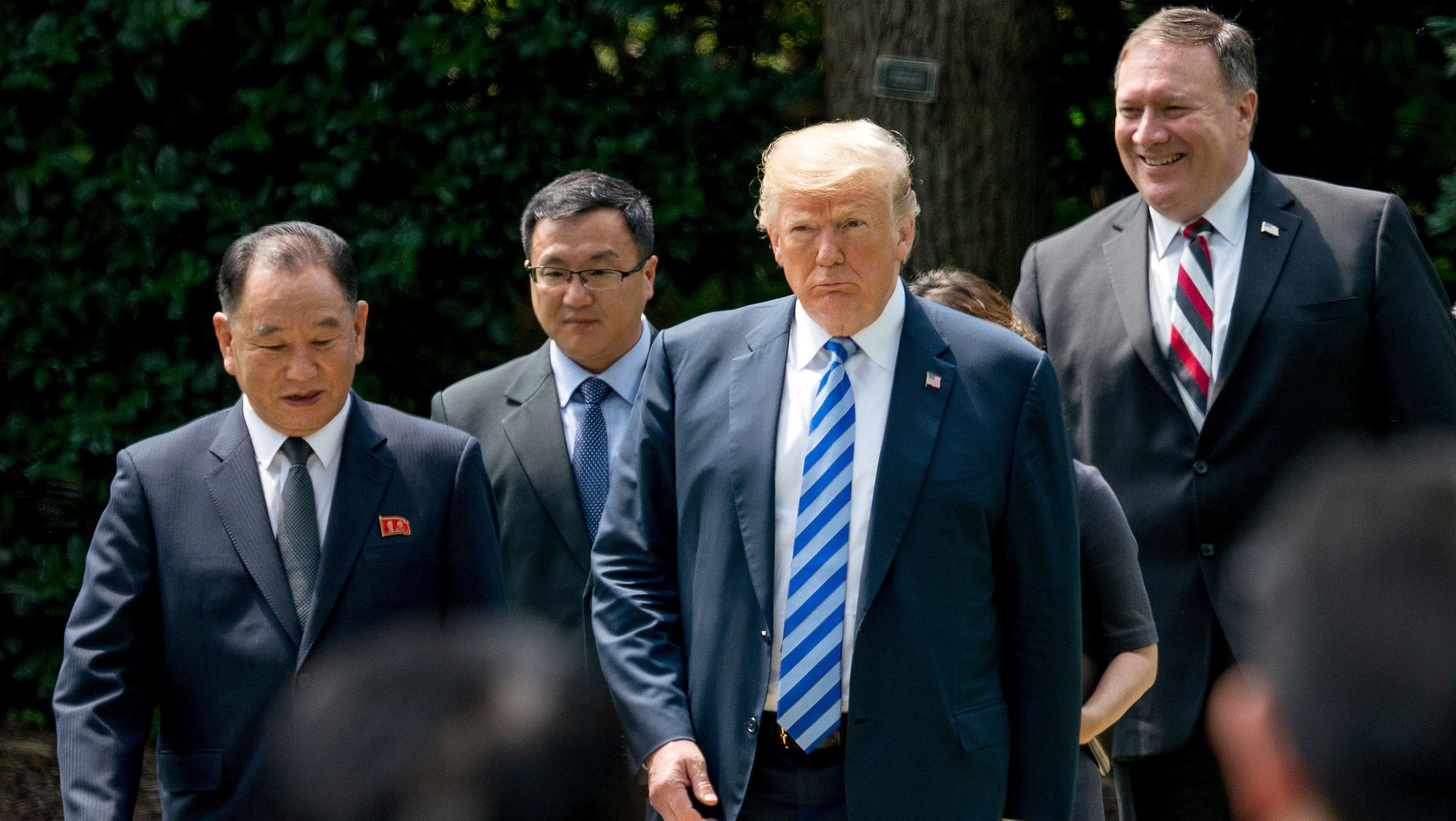 Donald Trump, Kim Yong Chol, Mike Pompeo