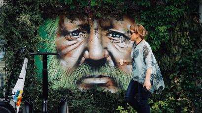 Forest Man art installation, Croatia.