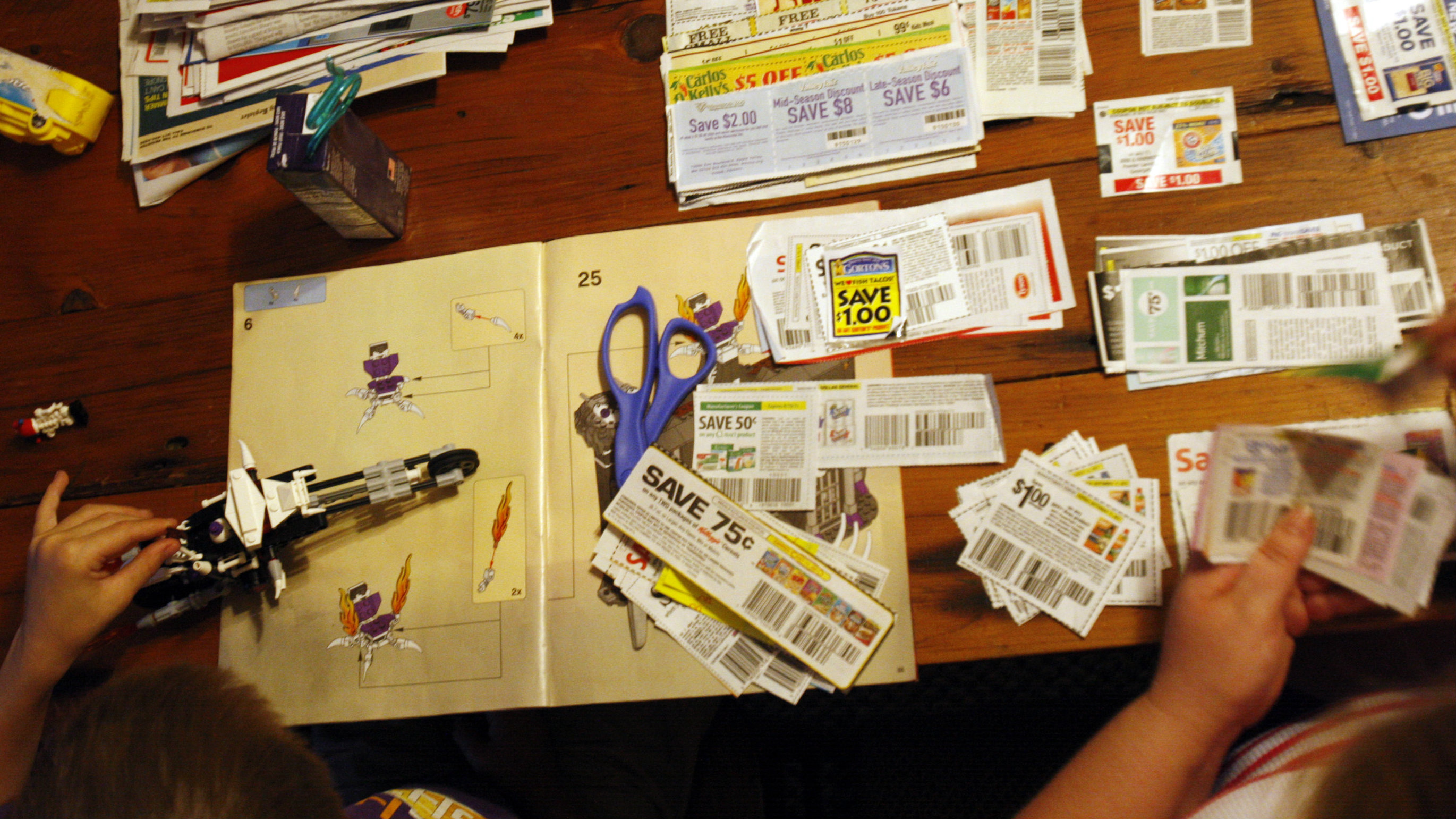 A family clips coupons