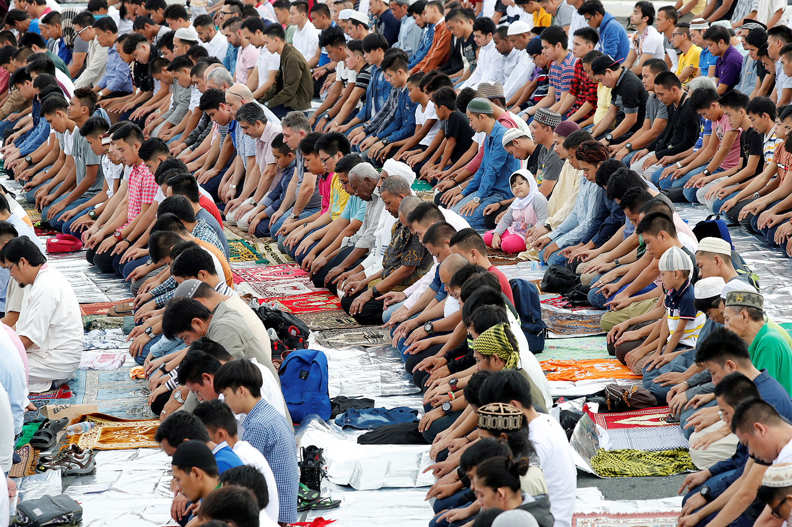 Filipino Muslims pray during the first day celebration of Eid al Fitr at Luneta Park in Manila