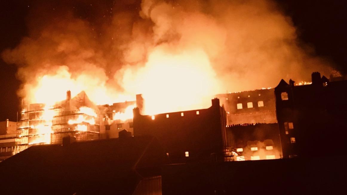 Glasgow burning on the night of June 15, 2018.