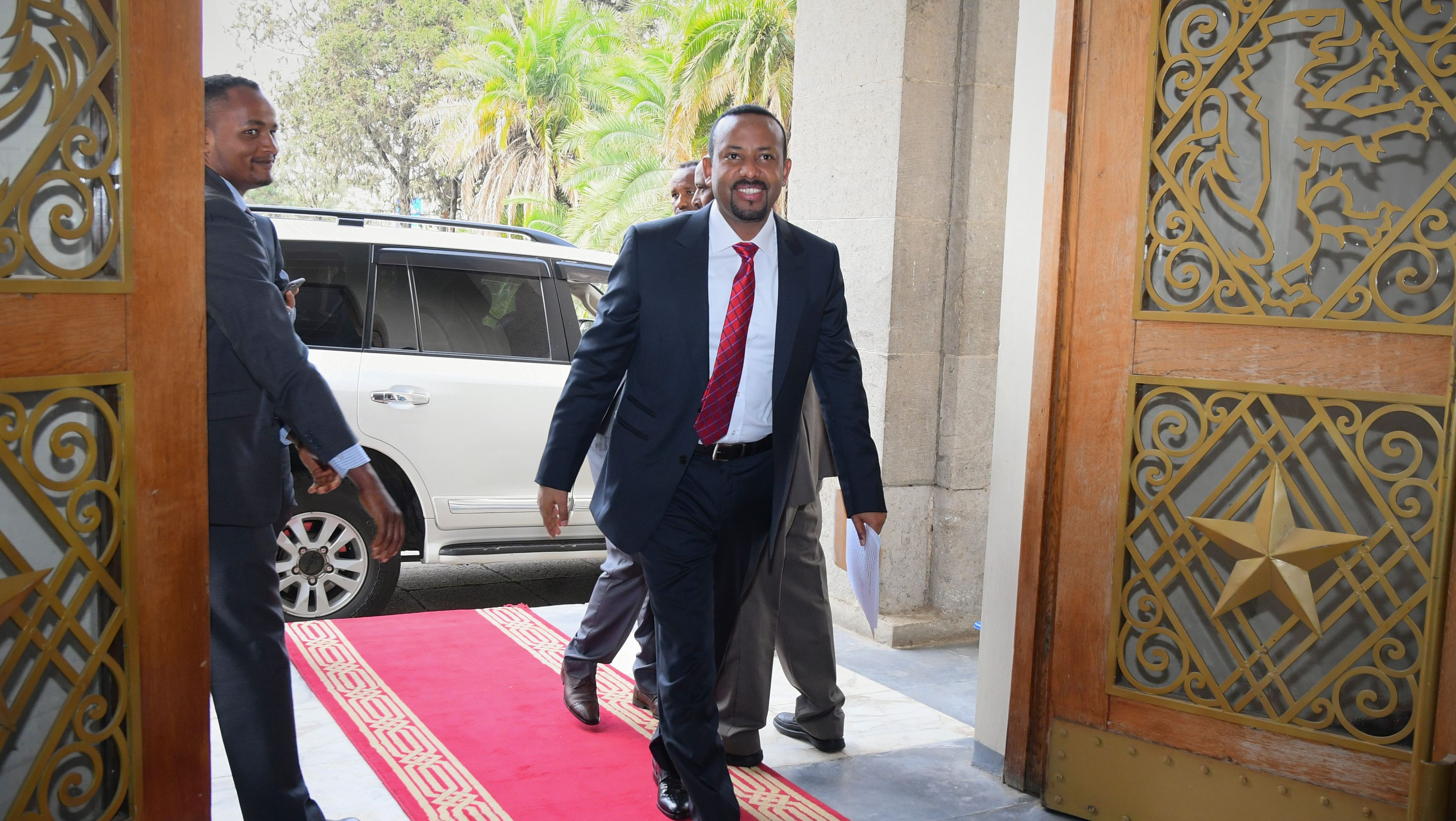 Ethiopia's new Prime Minister Abiy Ahmed arrives at the parliament for the swearing-in ceremony in the capital Addis Ababa, Ethiopia, 02 April 2017. Ahmed became the country's new top leader after his predecessor Hailemariam Desalegn unexpectedly resigned.