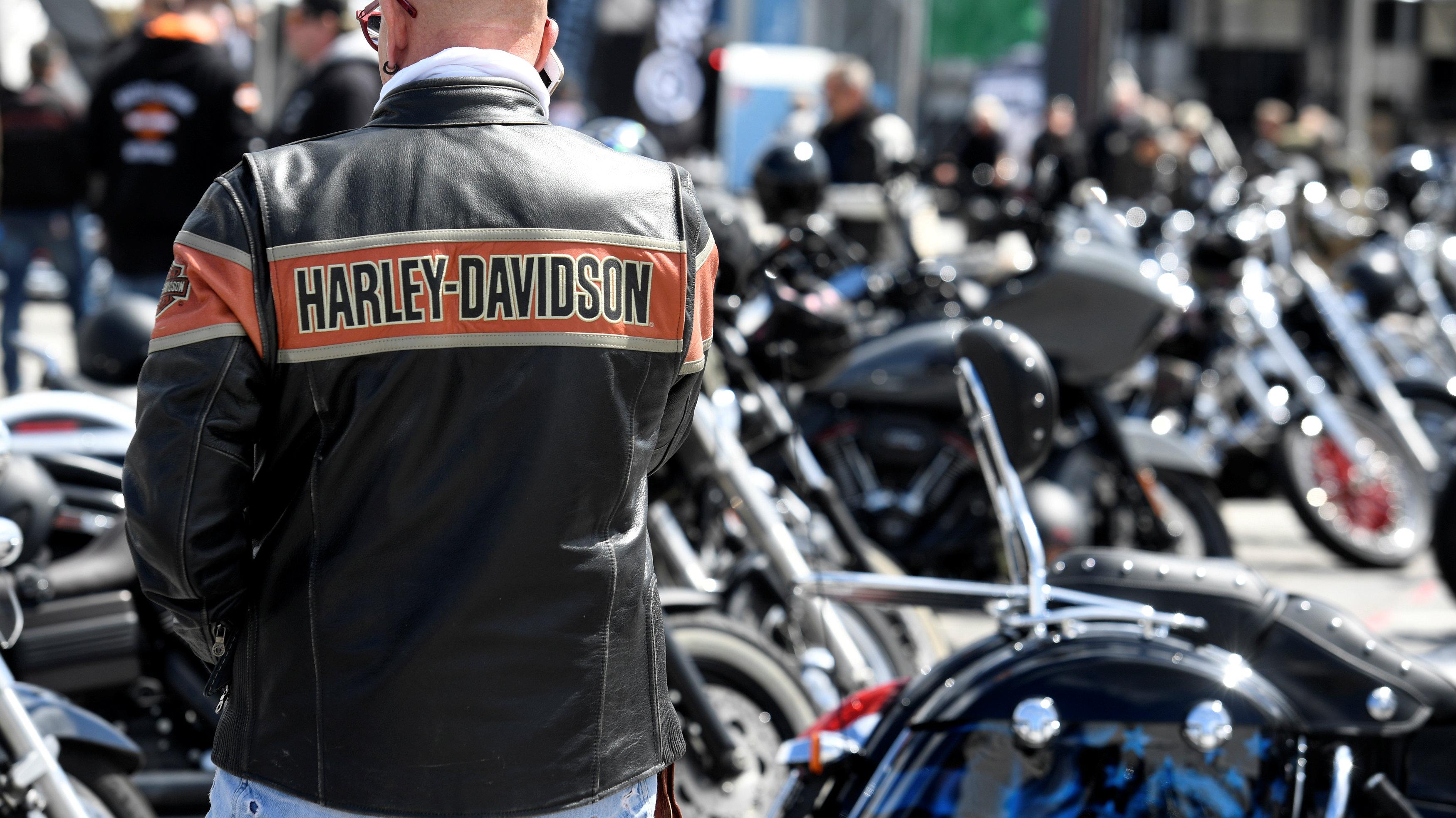 "A Harley-Davidson biker is seen at the ""Hamburg Harley-Days"" in Hamburg, Germany"