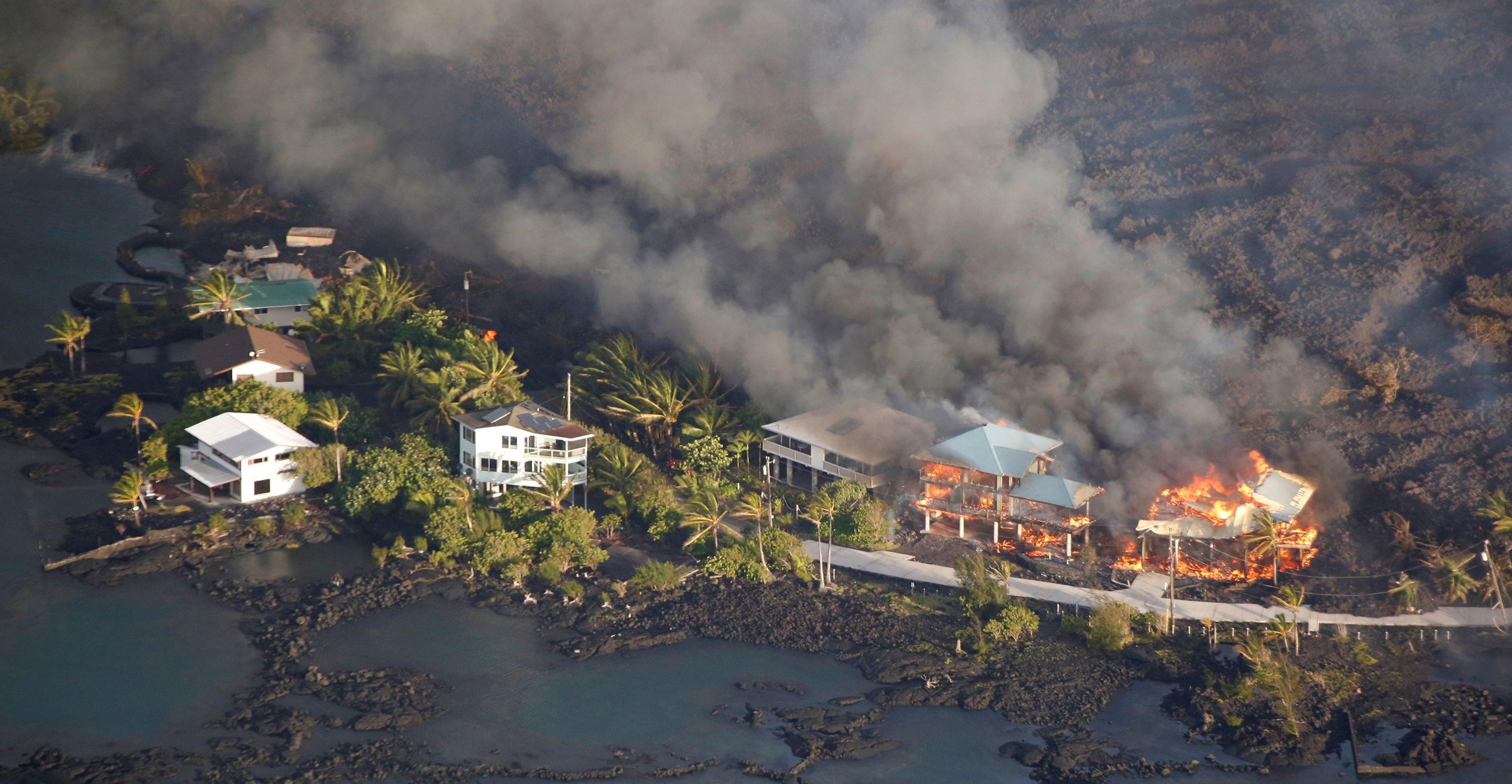 Lava destroys homes in the Kapoho area, east of Pahoa