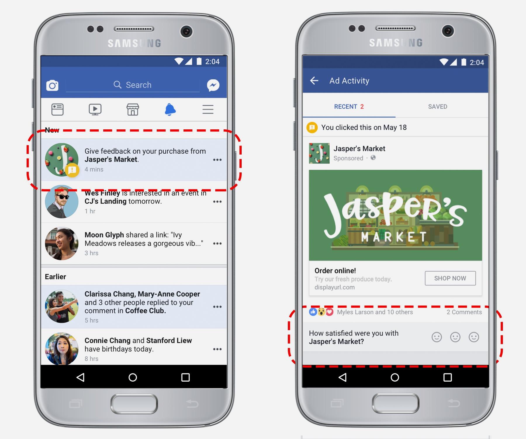 Facebook's ad feedback tool.