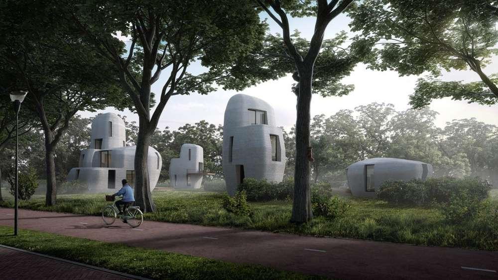 An artist's rendering of a 3d printed home neighborhood.