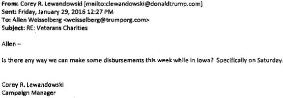 An e-mail from Trump campaign manager Corey Lewandowski directs the foundation's disbursement.