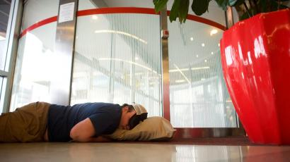 airport floor sleeper
