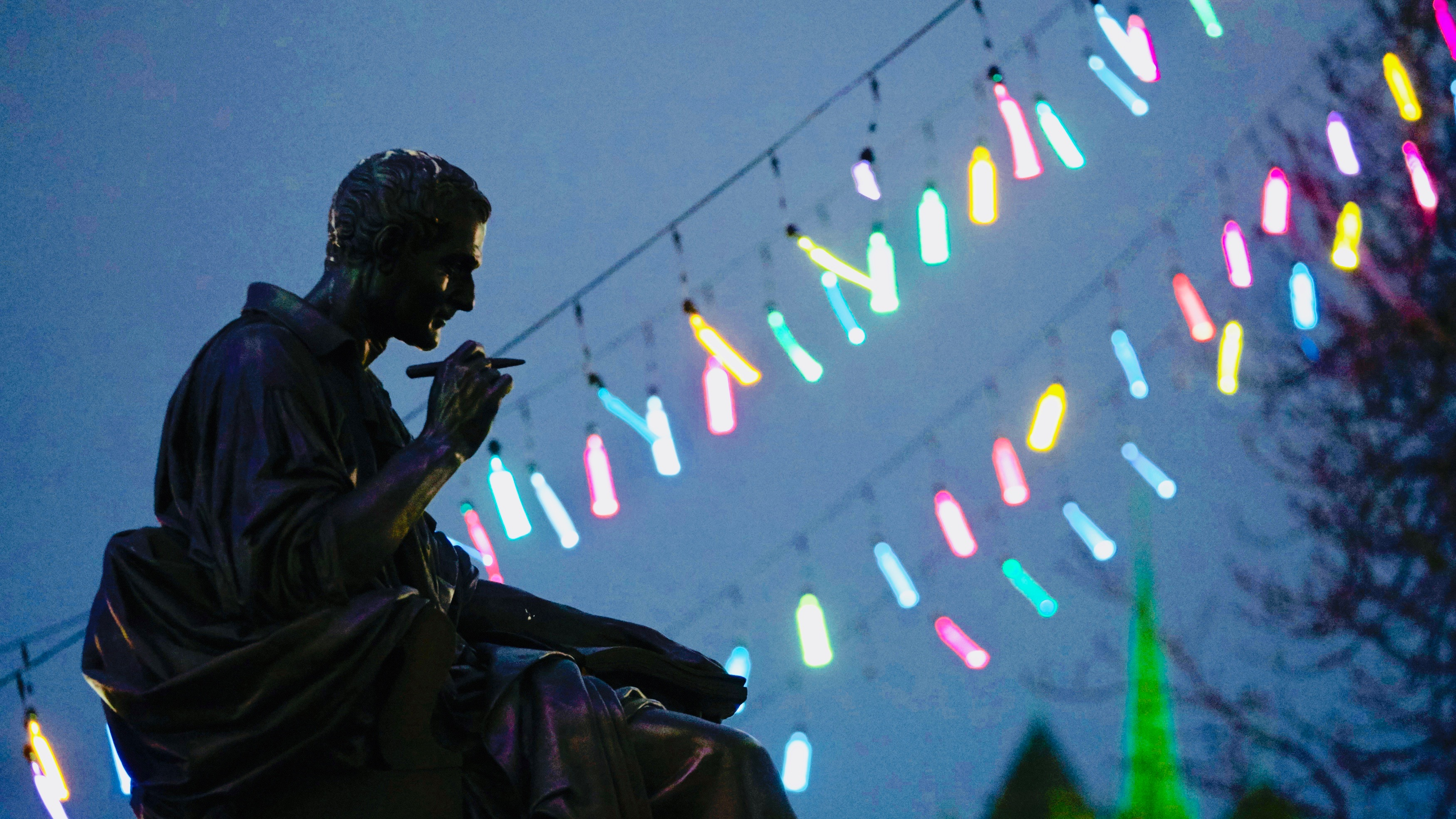 Statue of philosopher Rousseau in Geneva.