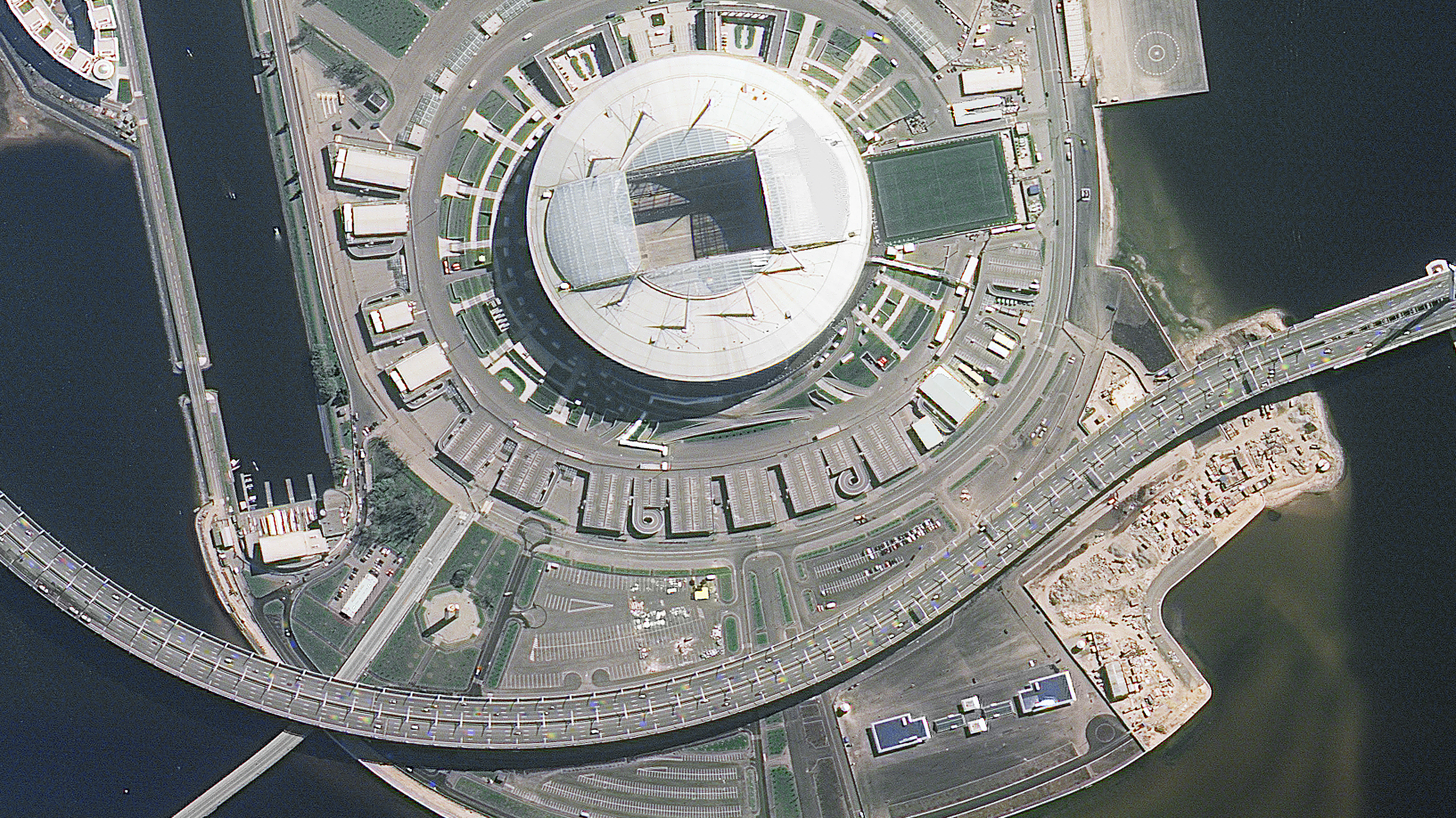 A picture taken from the International Space Station shows the Saint Petersburg Stadium in St. Petersburg