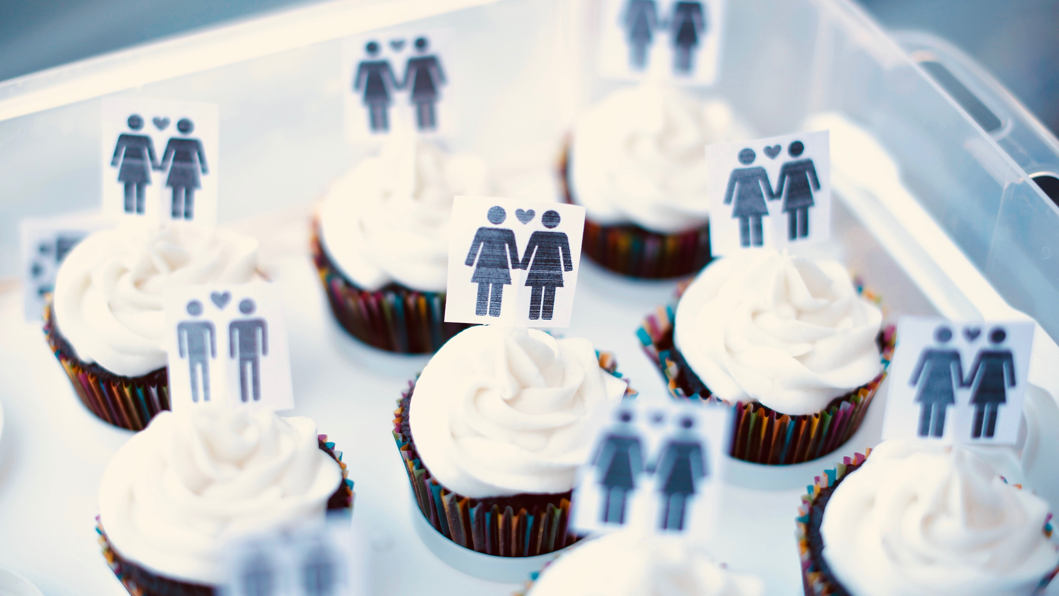 Cupcakes with same-sex wedding icons.