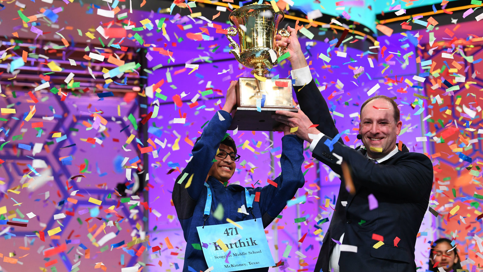 National Harbor, MD, USA; Karthik Nemmani from Texas spelled the word koinonia correctly to win the 2018 Scripps National Spelling Bee at the Gaylord National Resort and Convention Center.
