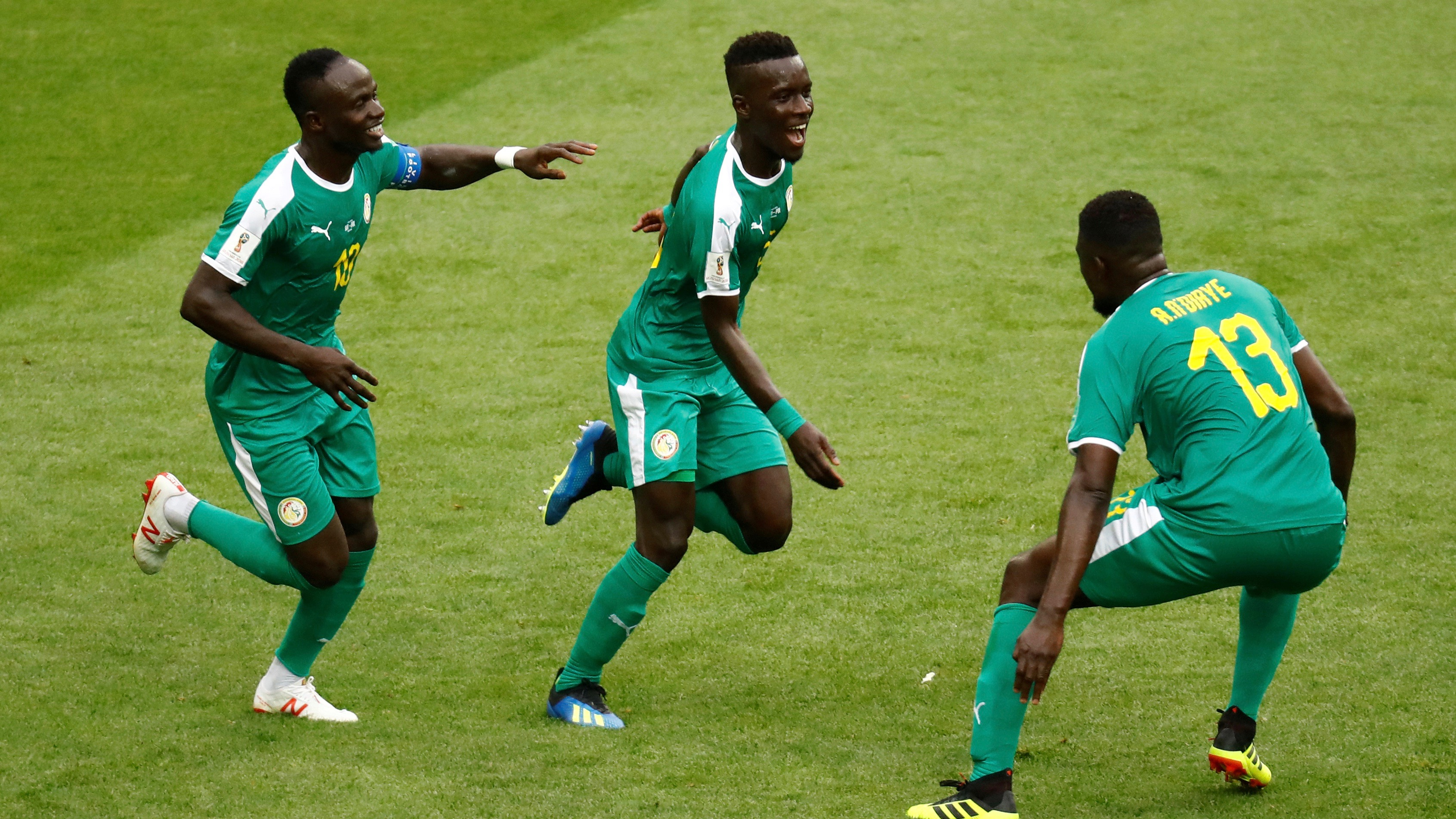 Senegal's Idrissa Gueye celebrates the June 19 game's first goal with team mates.
