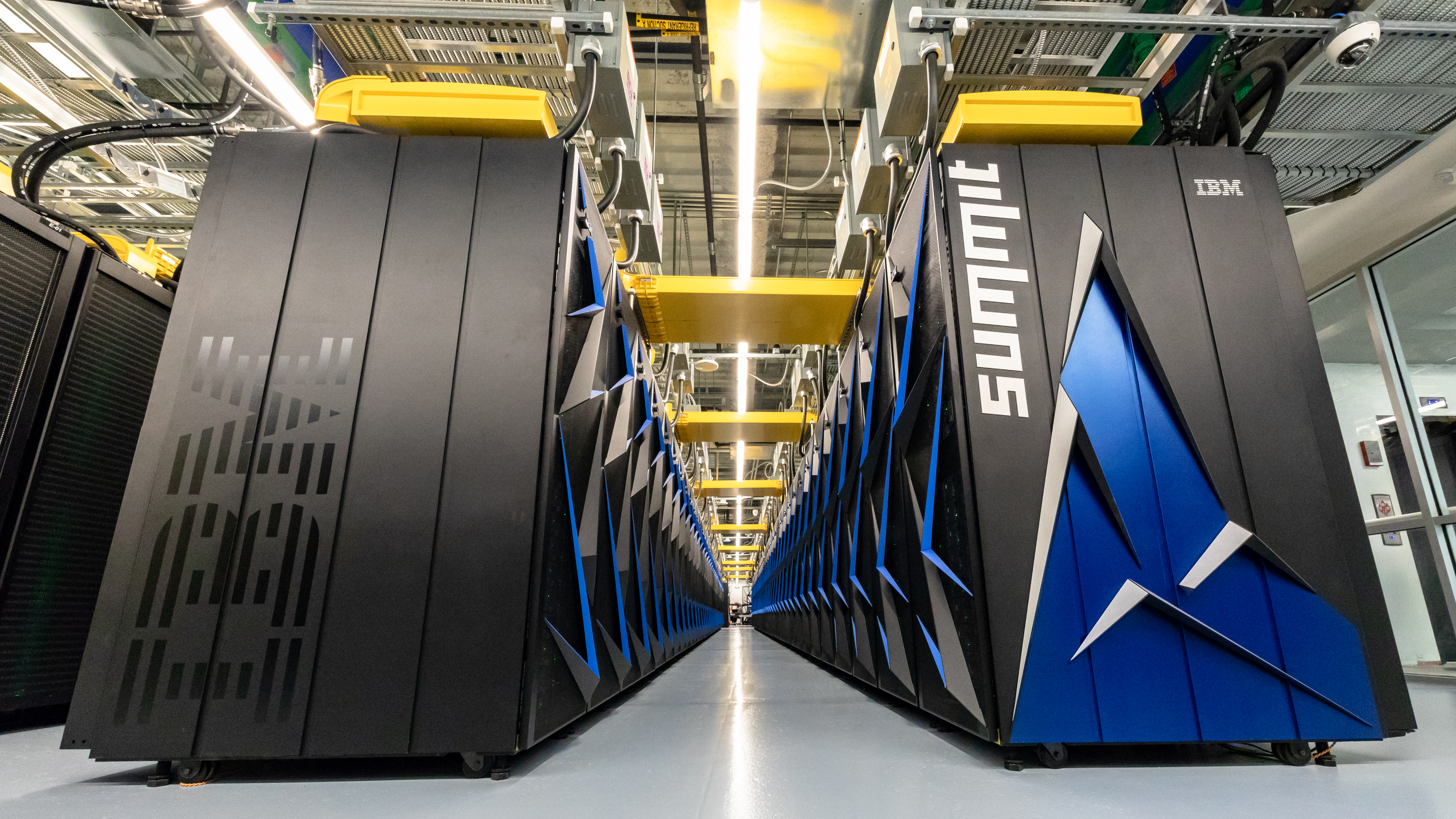 The Summit supercomputer, the world's fastest computer as of June 2018.