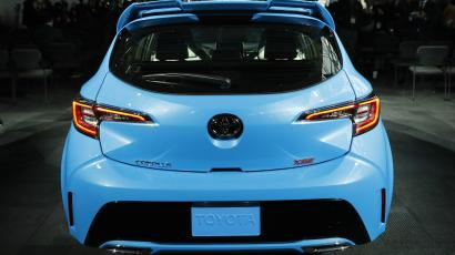 Rear view of the 2019 Toyota Corolla hatchback as it is presented at the New York Auto Show in the Manhattan borough of New York City, New York, U.S