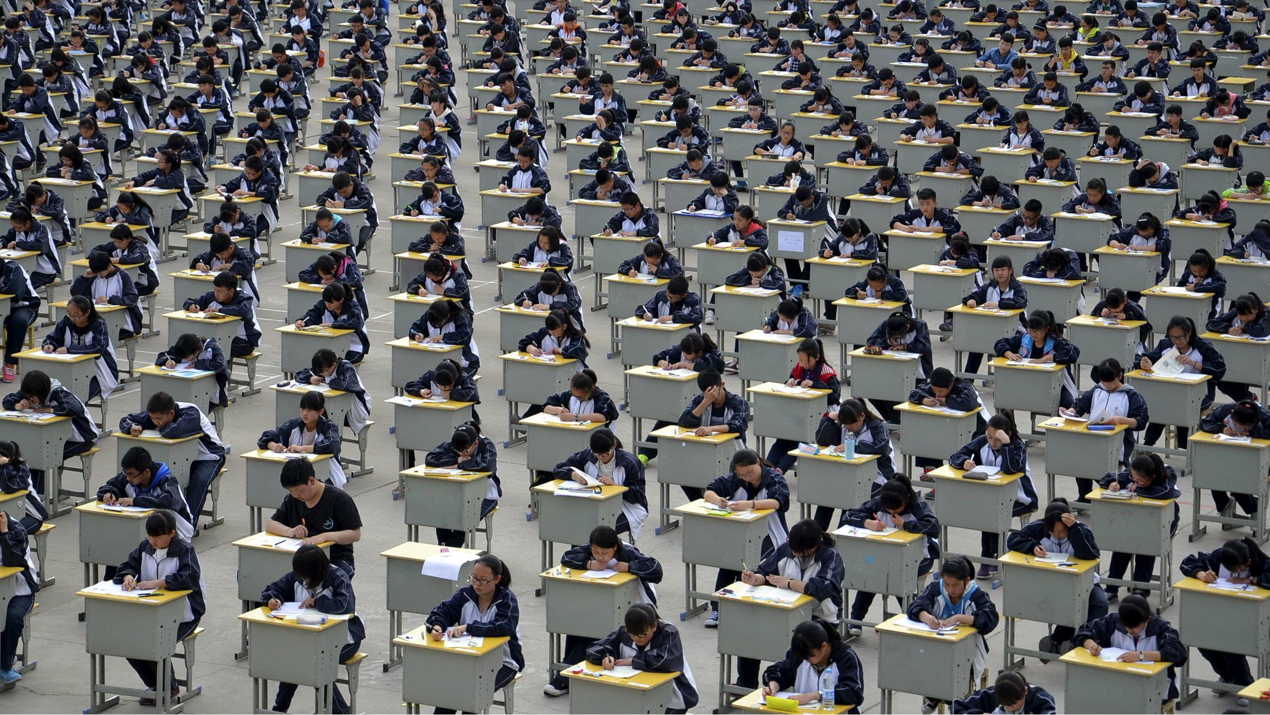 Students take exams