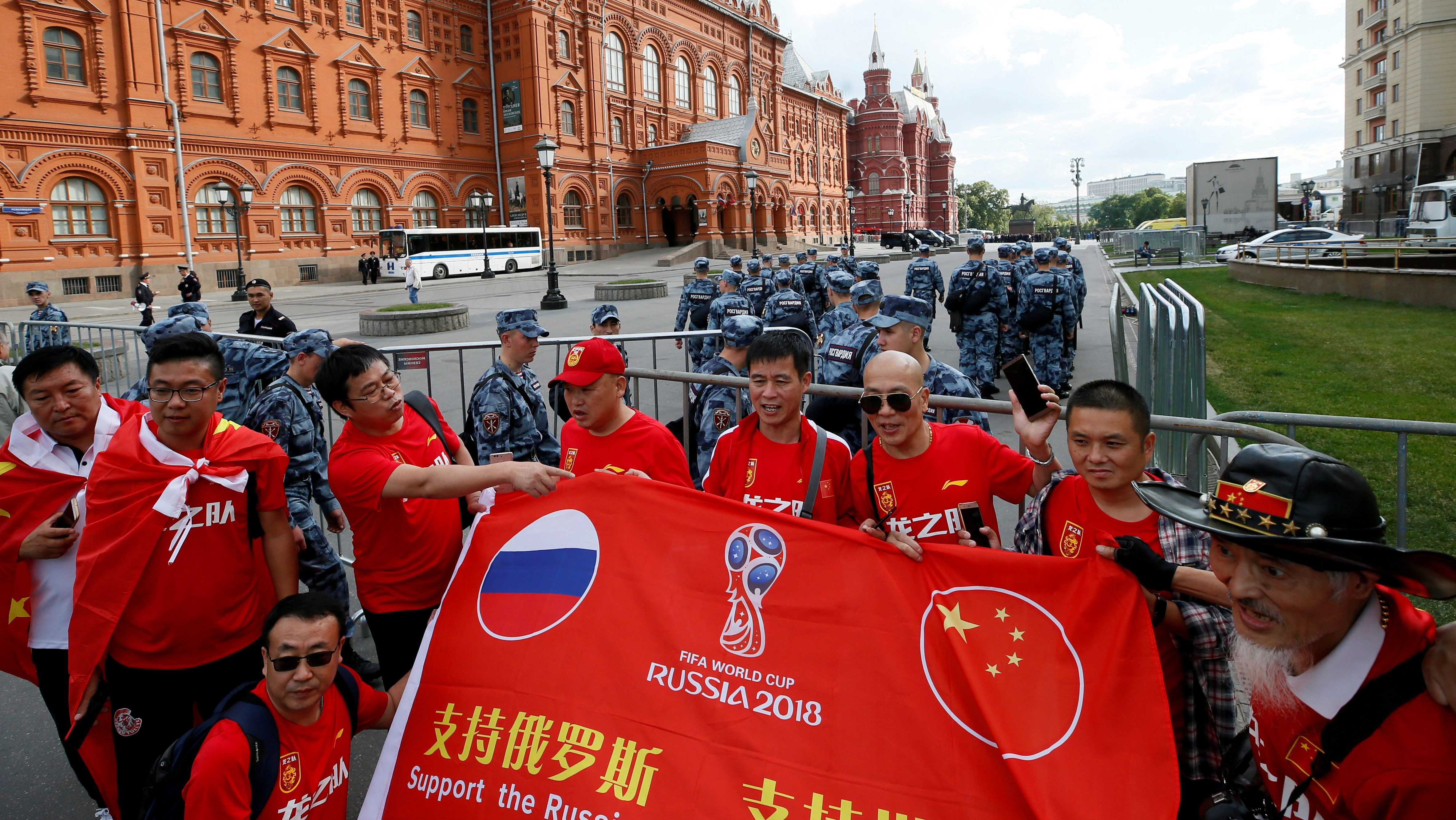 Chinese tourists on the eve of the 2018 FIFA World Cup in Moscow, Russia June 13, 2018.