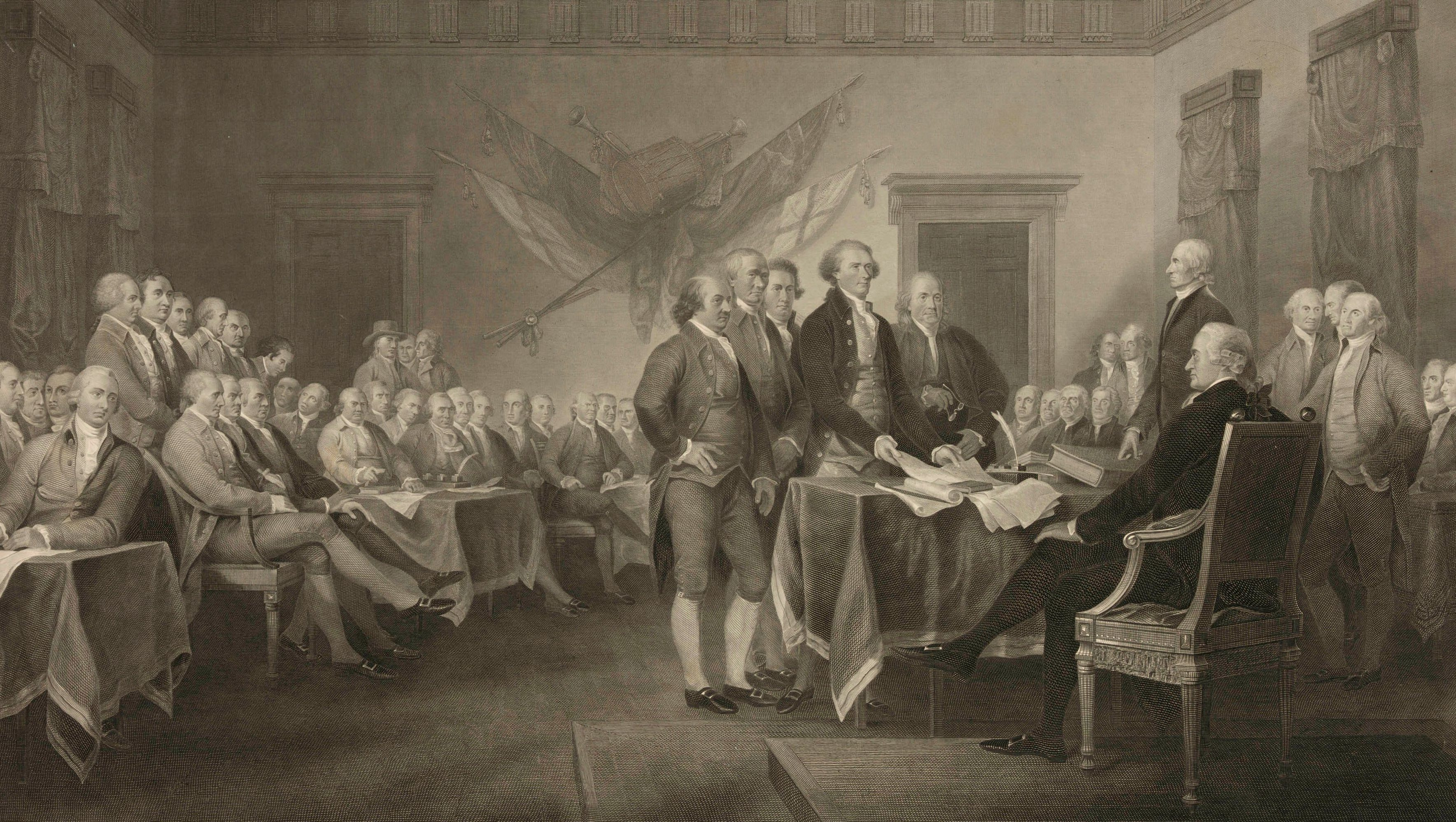 """This 1876 engraving by W.L. Ormsby shows a version of the painting """"Declaration of Independence, July 4th, 1776"""" by John Trumbull. To many, the notion of white men being marginalized in the early 21st century is ludicrous, their history seemingly a study in power and privilege, from the Founding Fathers to the """"Mad Men"""" era and up through their continued dominance in boardrooms and government. Yet, they have suffered some real losses, even as they maintain advantages. (W.L. Ormsby/Library of Congress via AP)"""