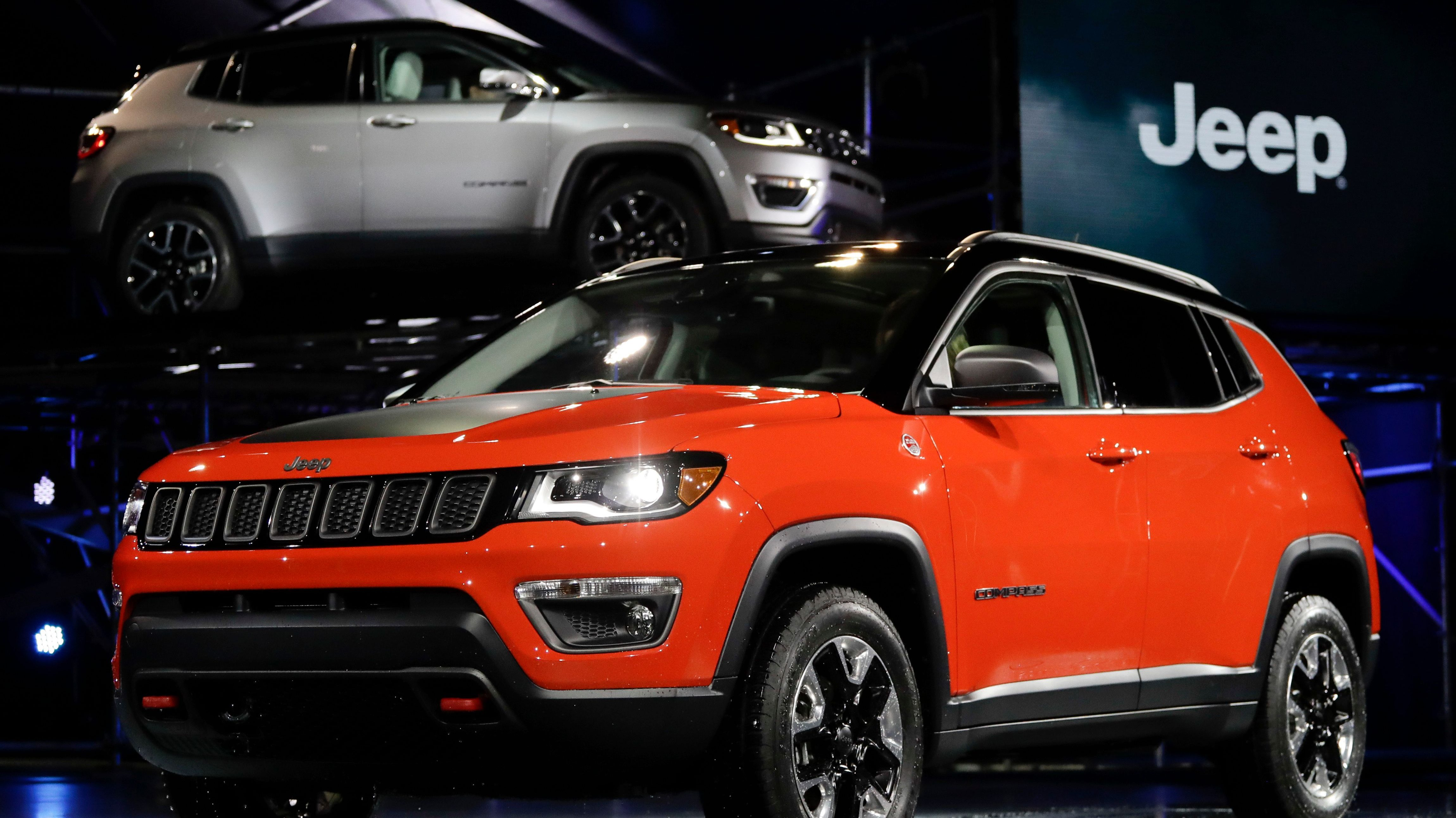 The 2017 Jeep Compass is displayed at the Los Angeles Auto Show in Los Angeles, Thursday, Nov. 17, 2016. (AP Photo/Chris Carlson)