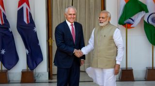 Indian Prime Minister Narendra Modi, right, shakes hands with his Australian counterpart Malcolm Turnbull before their delegation level meeting in New Delhi, India, Monday, April 10, 2017. Turnbull is on a four-day official visit to India. (AP Photo/Manish Swarup)