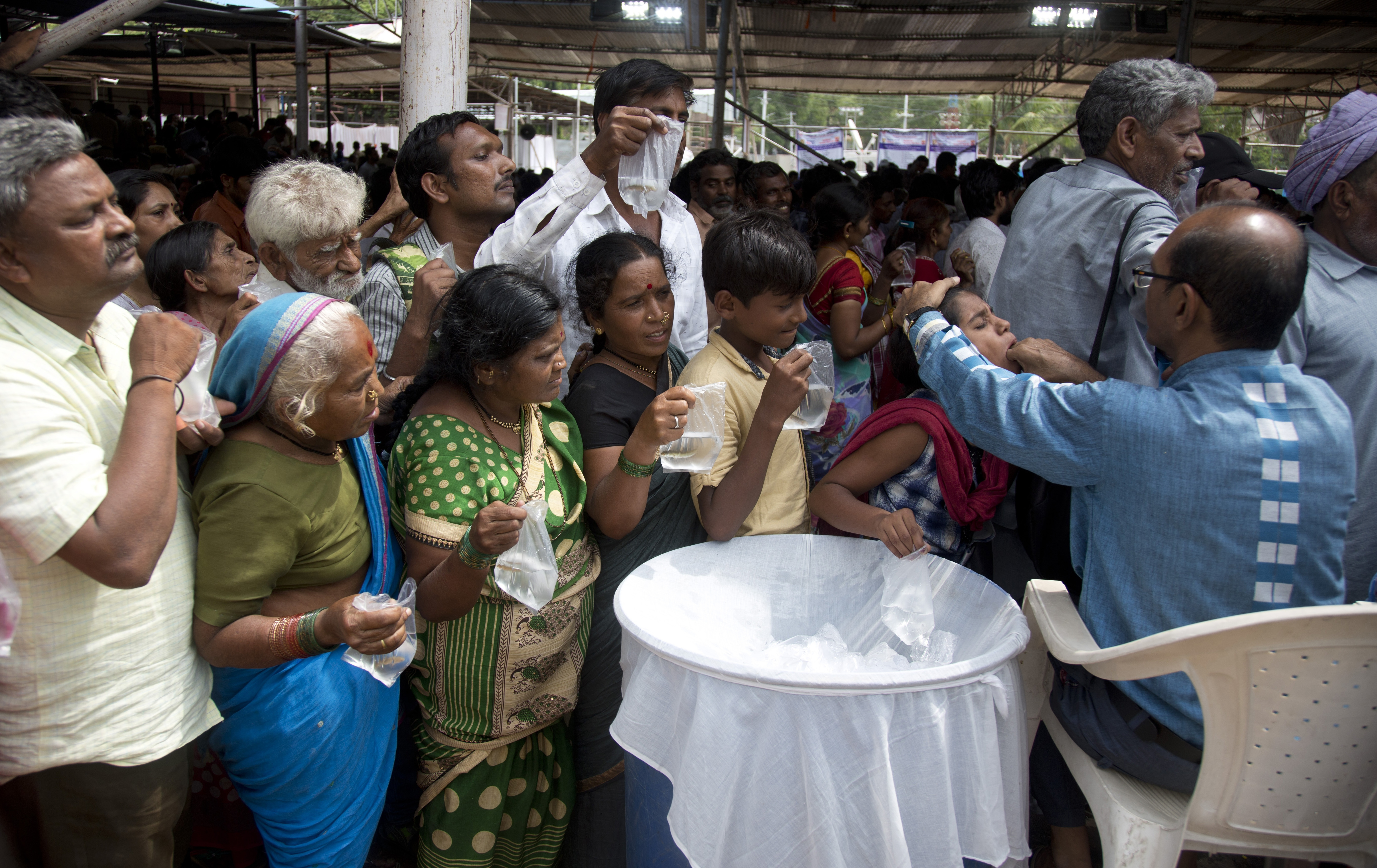 Standing in line in India