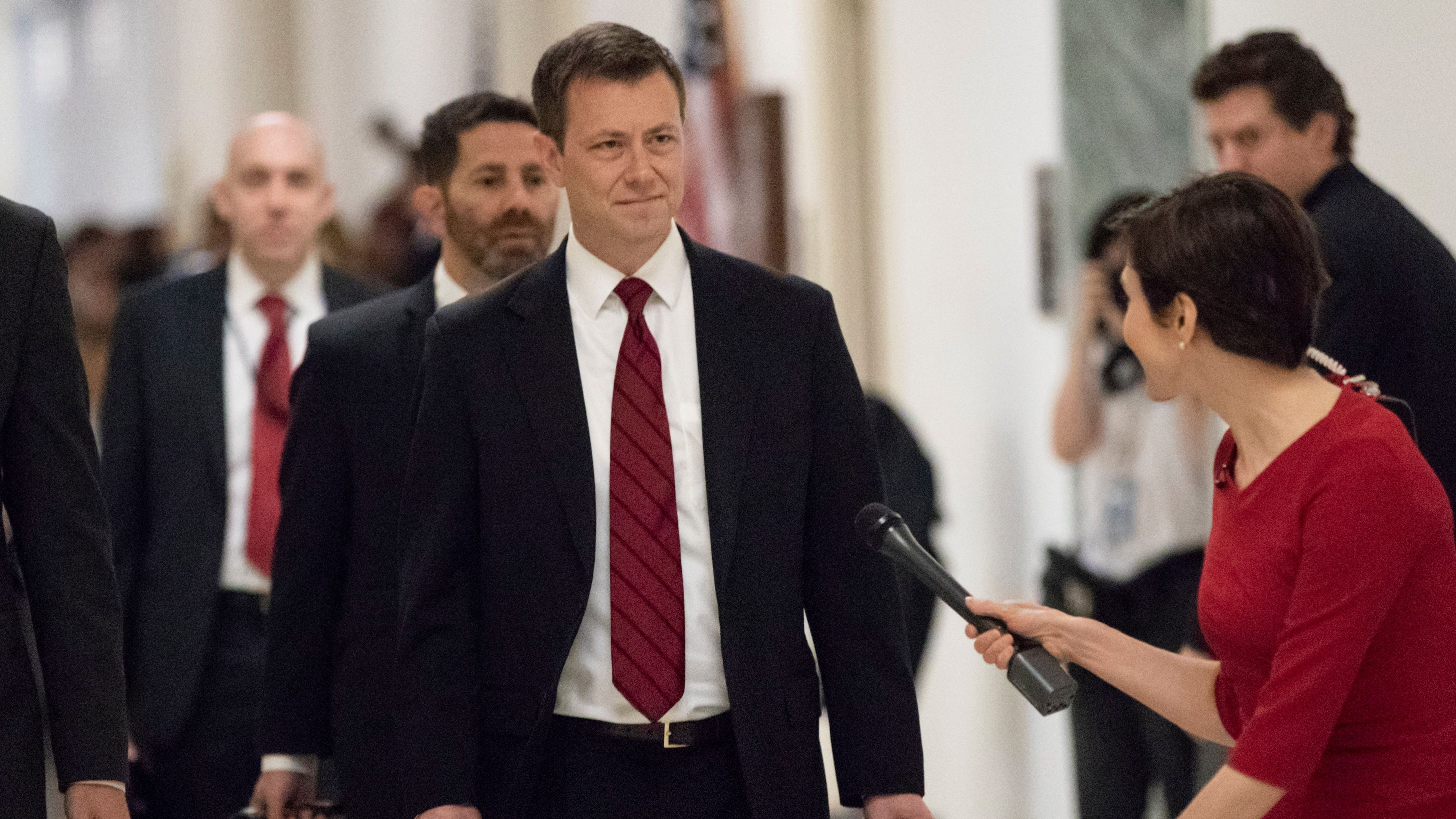 Peter Strzok, the FBI agent facing criticism following a series of anti-Trump text messages, walks to gives a deposition before the House Judiciary Committee on Capitol Hill in Washington, Wednesday, June 27, 2018. (AP Photo/J. Scott Applewhite)