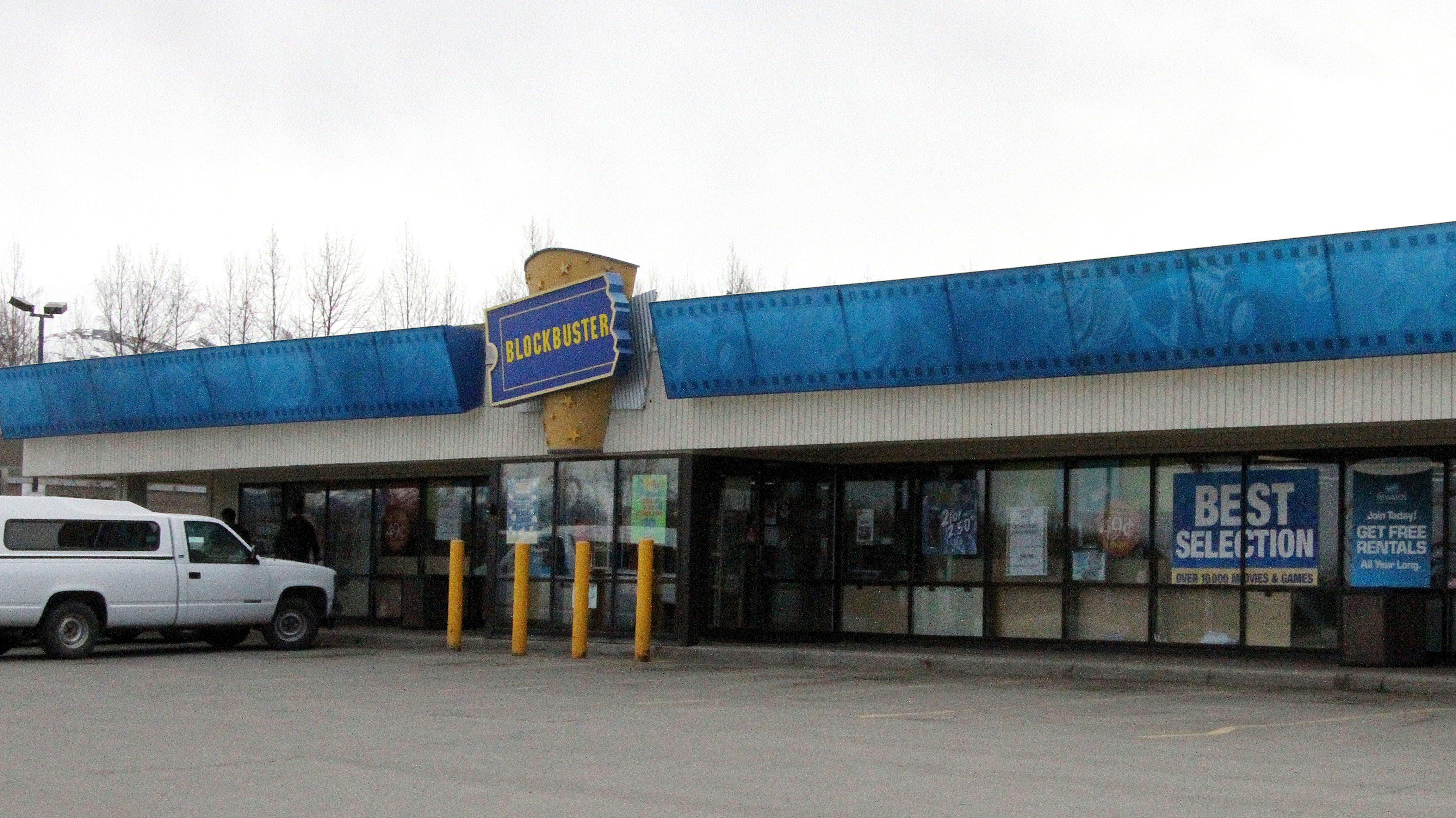 """FILE - This May 2, 2018 file photo shows the exterior of a Blockbuster Video store in Anchorage, Alaska. Despite the gift of the jockstrap worn by actor Russell Crowe in the 2005 movie """"Cinderella Man"""" from HBO's John Oliver to bring traffic into the store, Blockbuster Alaska General Manager Kevin Daymude said the last two Blockbuster Video locations in Alaska will rent their last video on Sunday, July 15, 2018, apparently leaving the last Blockbuster Video in Bend, Ore. (AP Photo/Mark Thiessen, File)"""