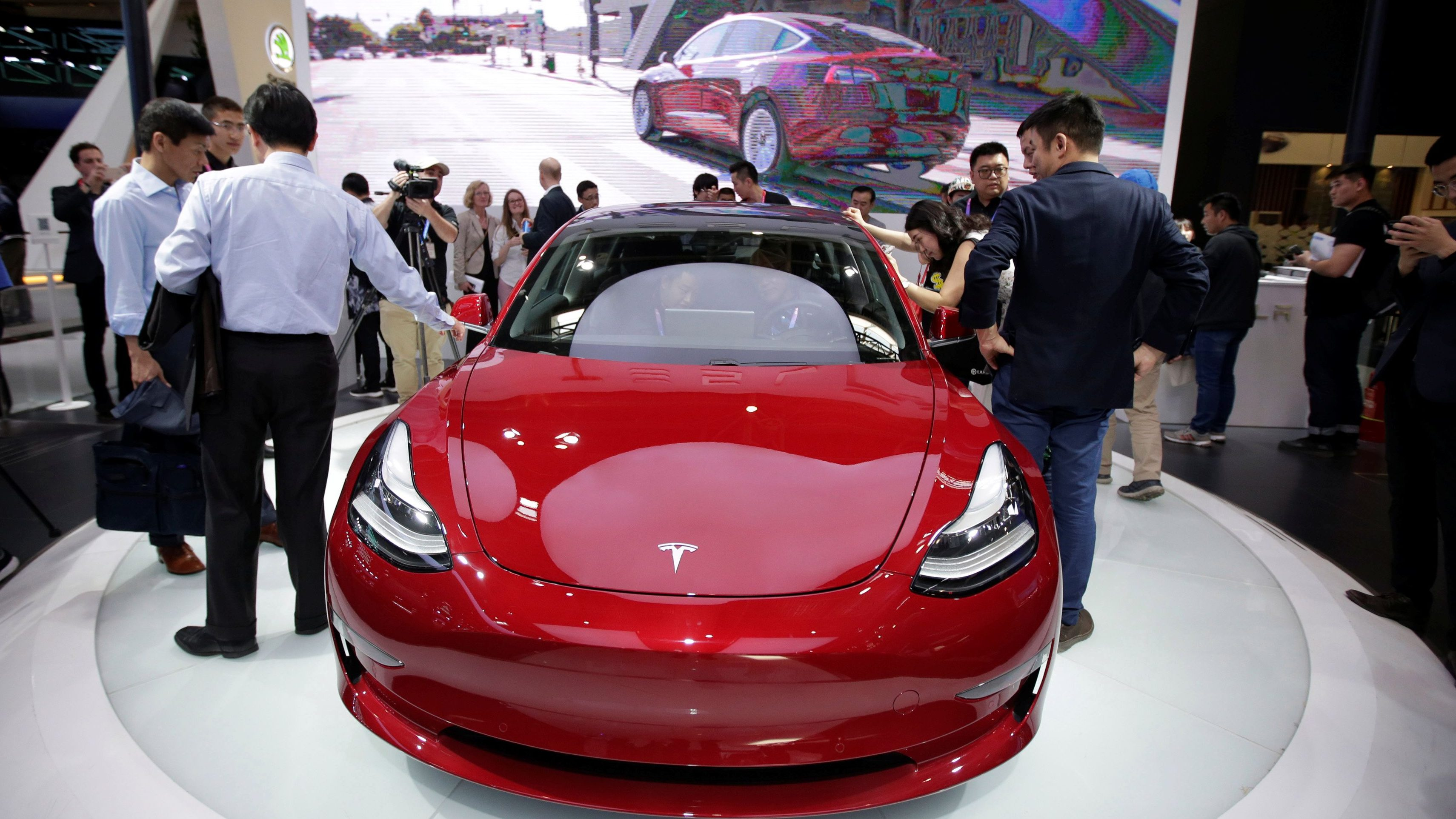 A Tesla Model 3 car is displayed during a media preview at the Auto China 2018 motor show in Beijing, China April 25, 2018.