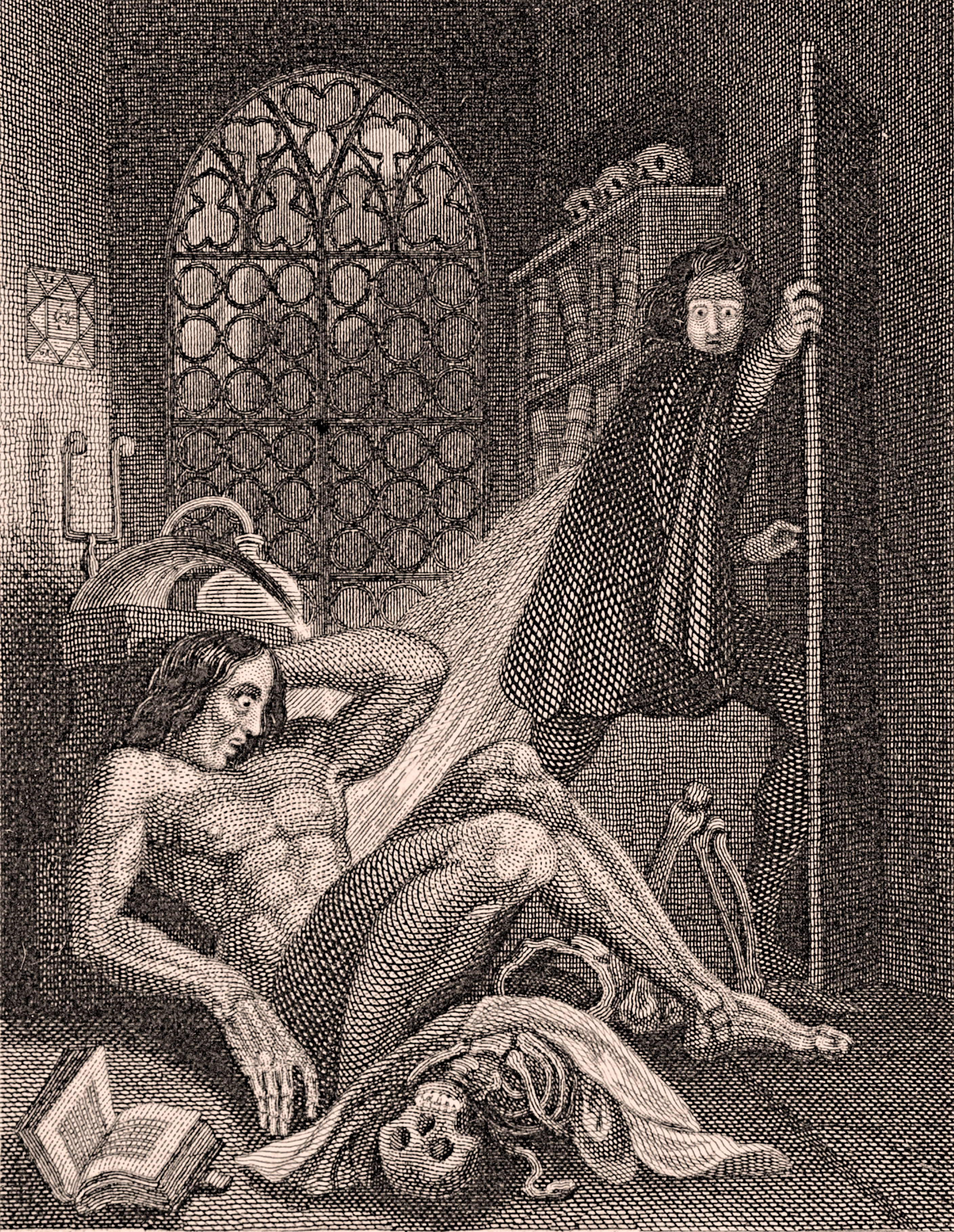 Frankenstein becomes disgusted by his monstrous creation