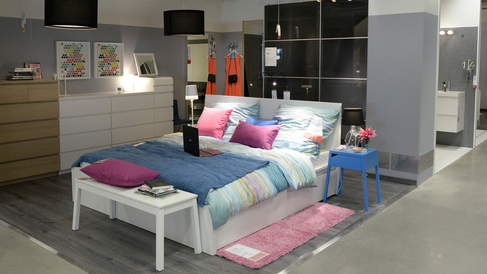 A bedroom set up is pictured in IKEA's first city centre store in Hamburg June 25, 2014. Sweden's IKEA, the world's biggest furniture chain known for its sprawling out-of-town showrooms, is opening its first city centre store as it responds to a shift in shopping habits to smaller local stores and the Internet. While IKEA has already opened a few stores closer to city centres than usual in countries like Britain and Japan, its new building in the northern German port city of Hamburg is the first time it will be in a central pedestrian shopping zone.