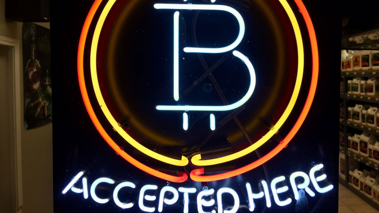 In this Feb. 7, 2018 file photo, a neon sign hanging in the window of Healthy Harvest Indoor Gardening in Hillsboro, Ore., shows that the business accepts bitcoin as payment. A raft of recent cyber-security firms and governments now cite the rising trend of 'crypto-jacking' _ in which devices are infected with invisible malicious cryptocurrency mining software that uses the computing power of victims' devices to mine virtual currency _ as the main cyber security threat to businesses and consumers worldwide