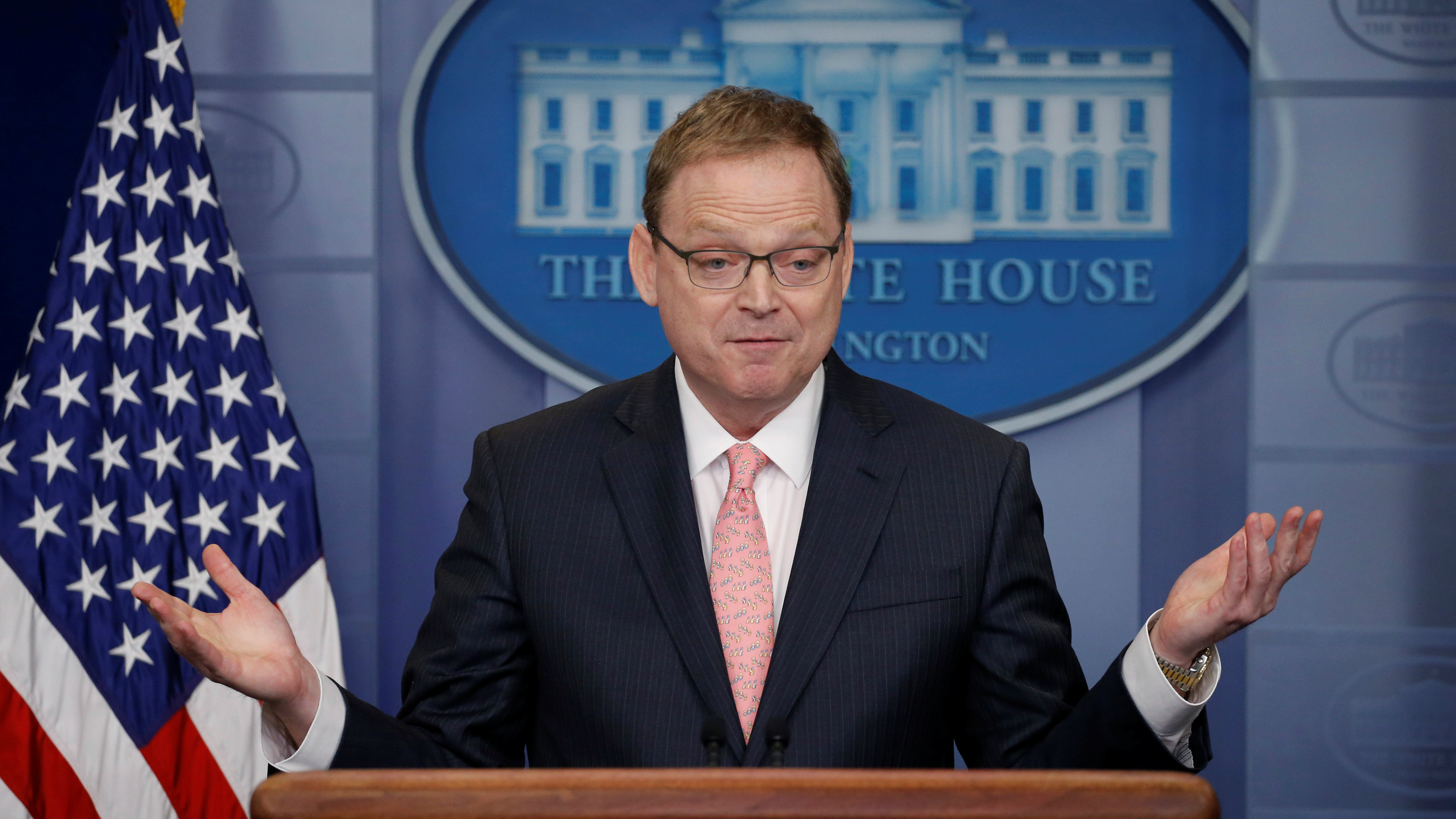 Chair of the Council of Economic Advisers Kevin Hassett at a lectern.