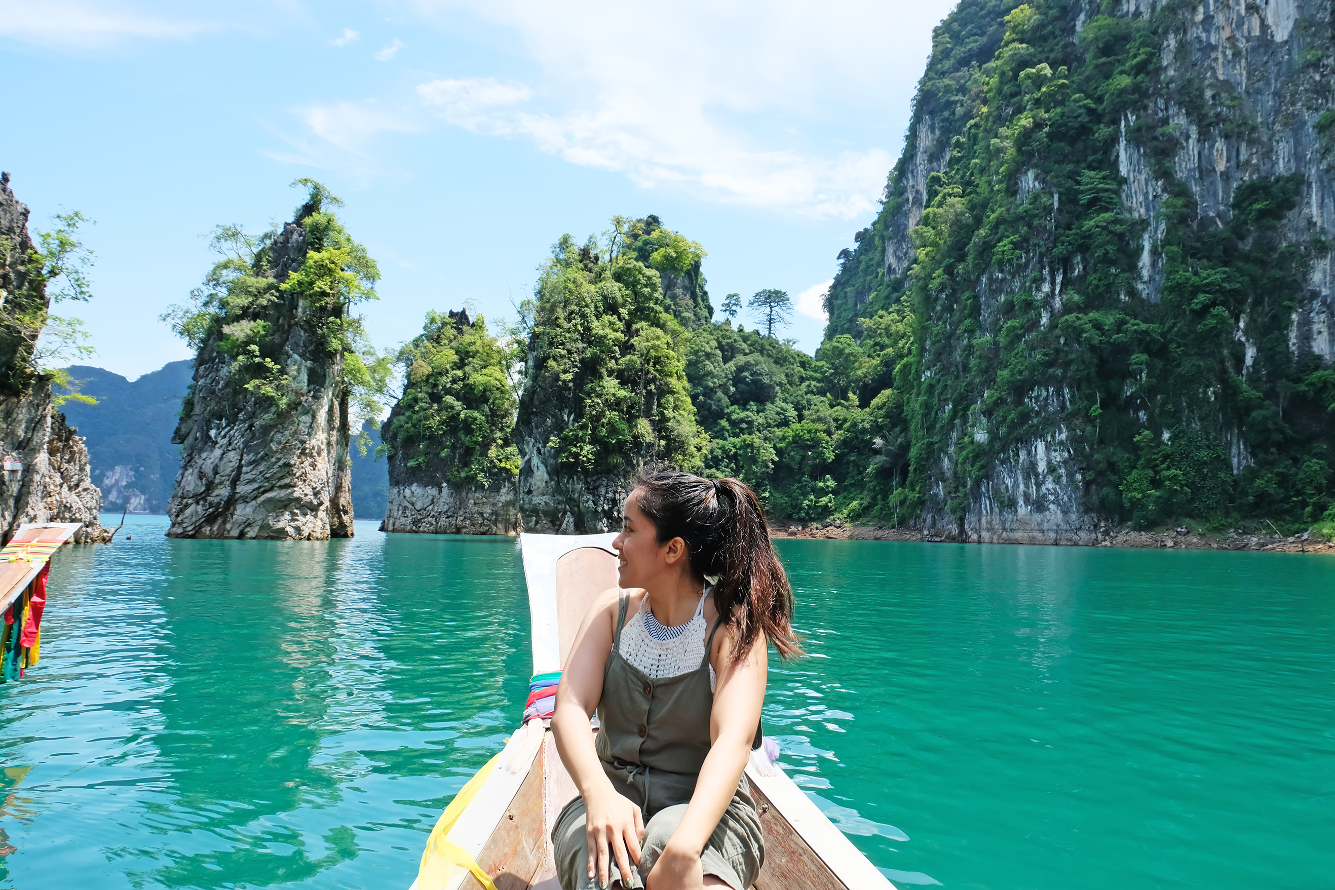 Girl in a canoe in Thailand