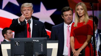 Manafort onstage with Donald and Ivanka Trump