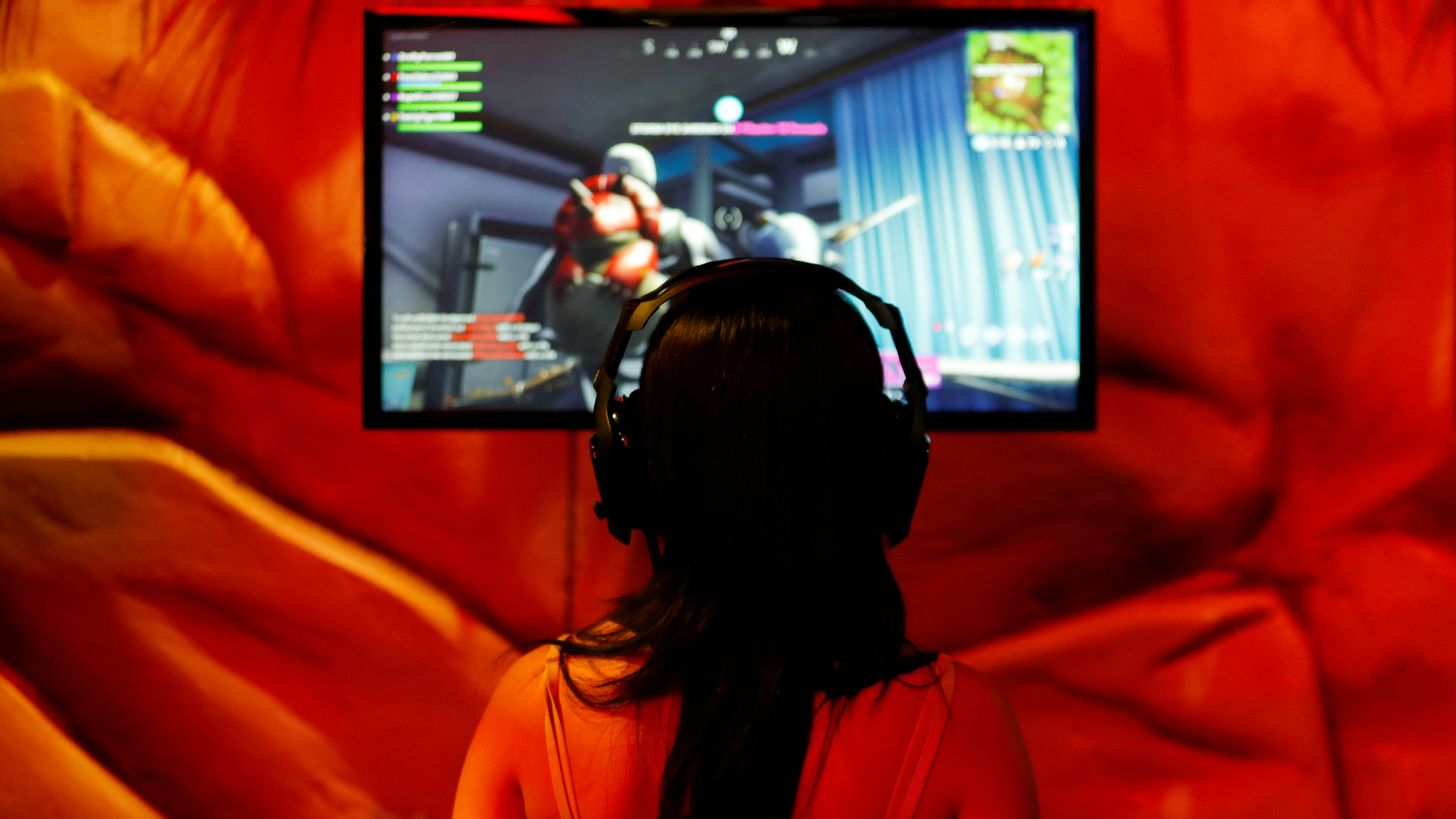 A person playing a video game