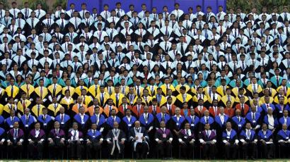 Students and faculty members of IIM attend their annual convocation ceremony in Ahmedabad