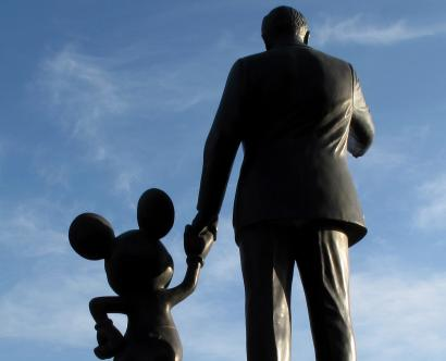 Statues of Walt Disney and Mickey Mouse are seen at Disneyland in Anaheim