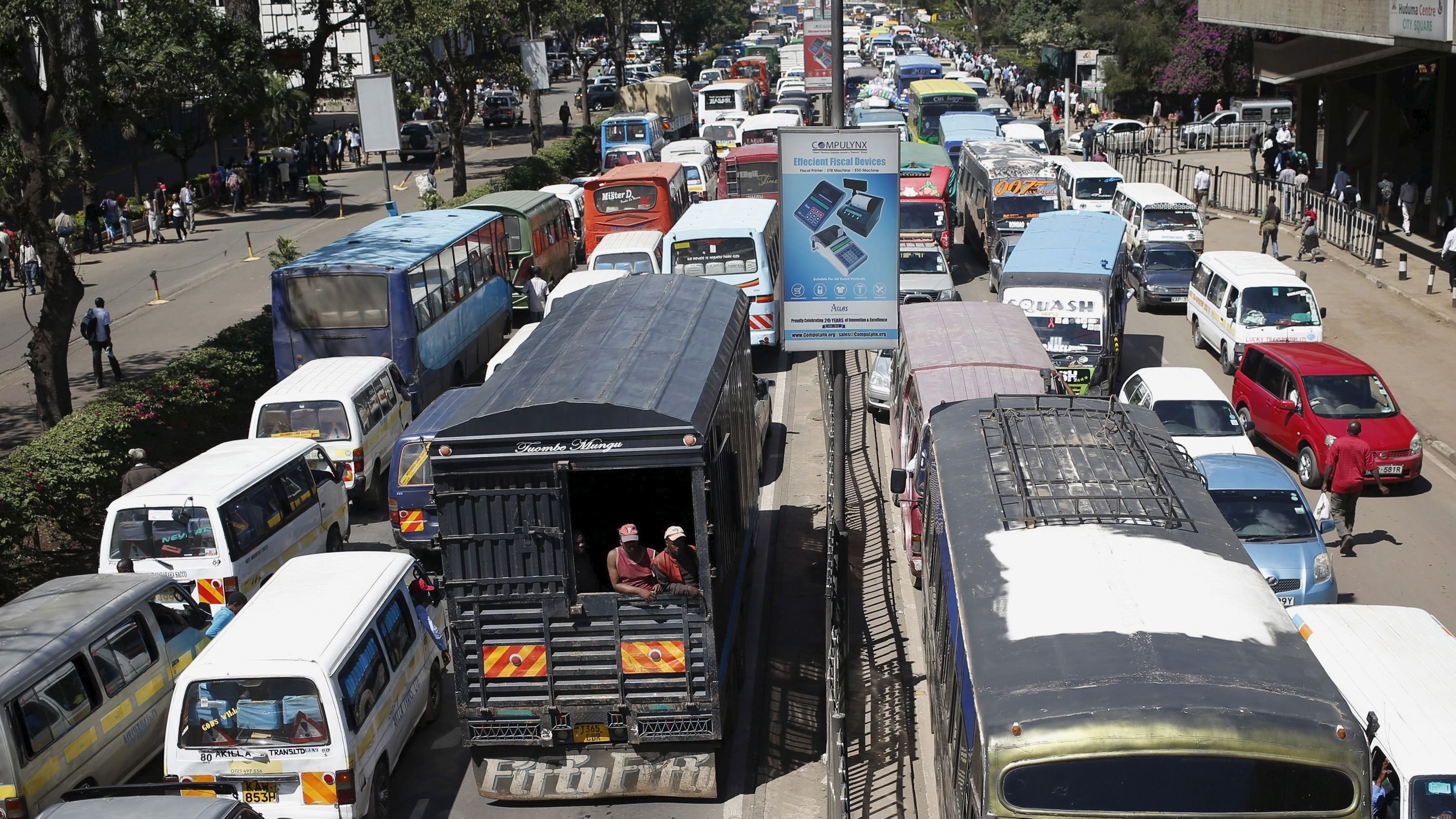 Traffic stands still on both sides the streets of Kenya's capital Nairobi