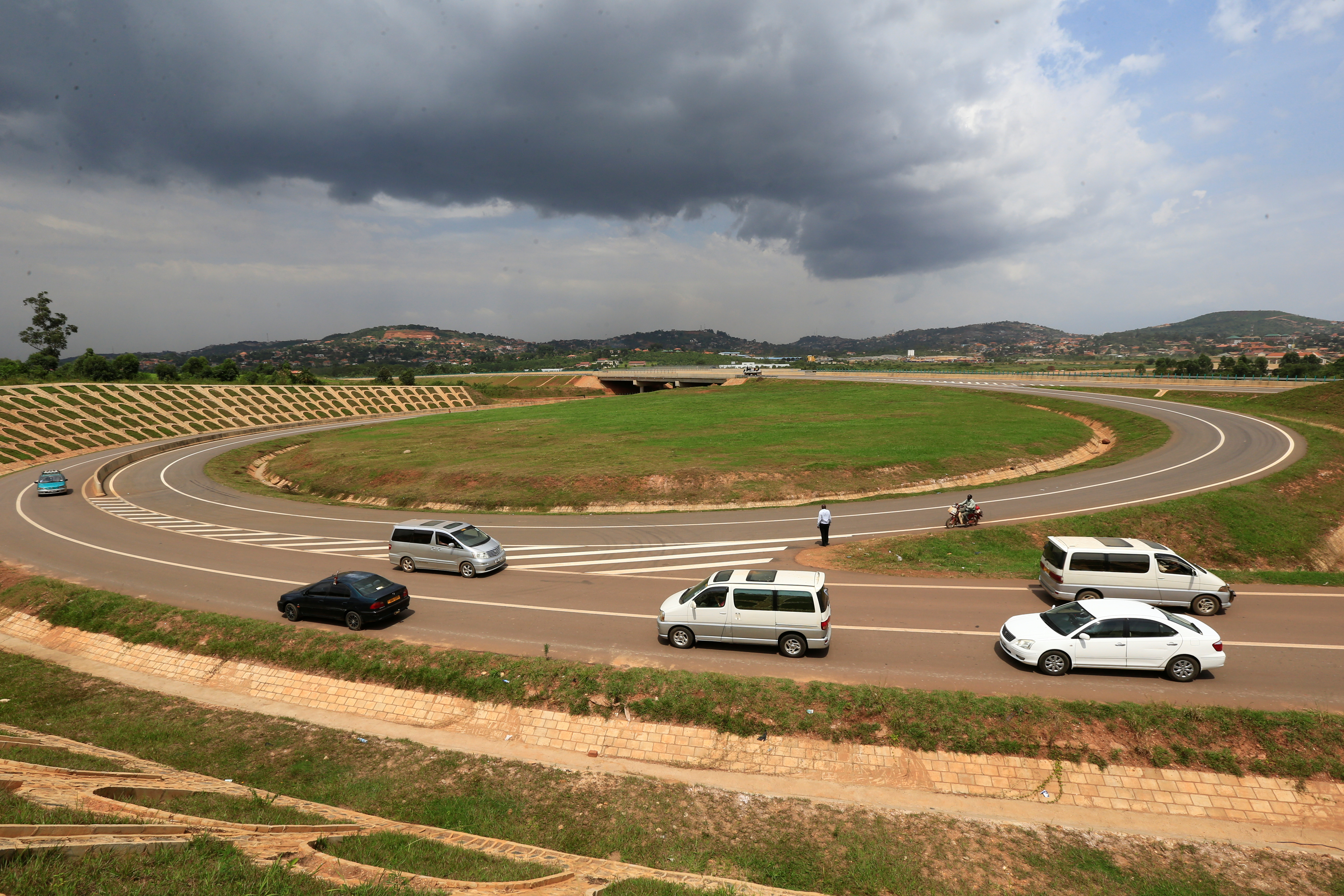 Vehicles drive on the interchange of new Chinese-built expressway in Kampala