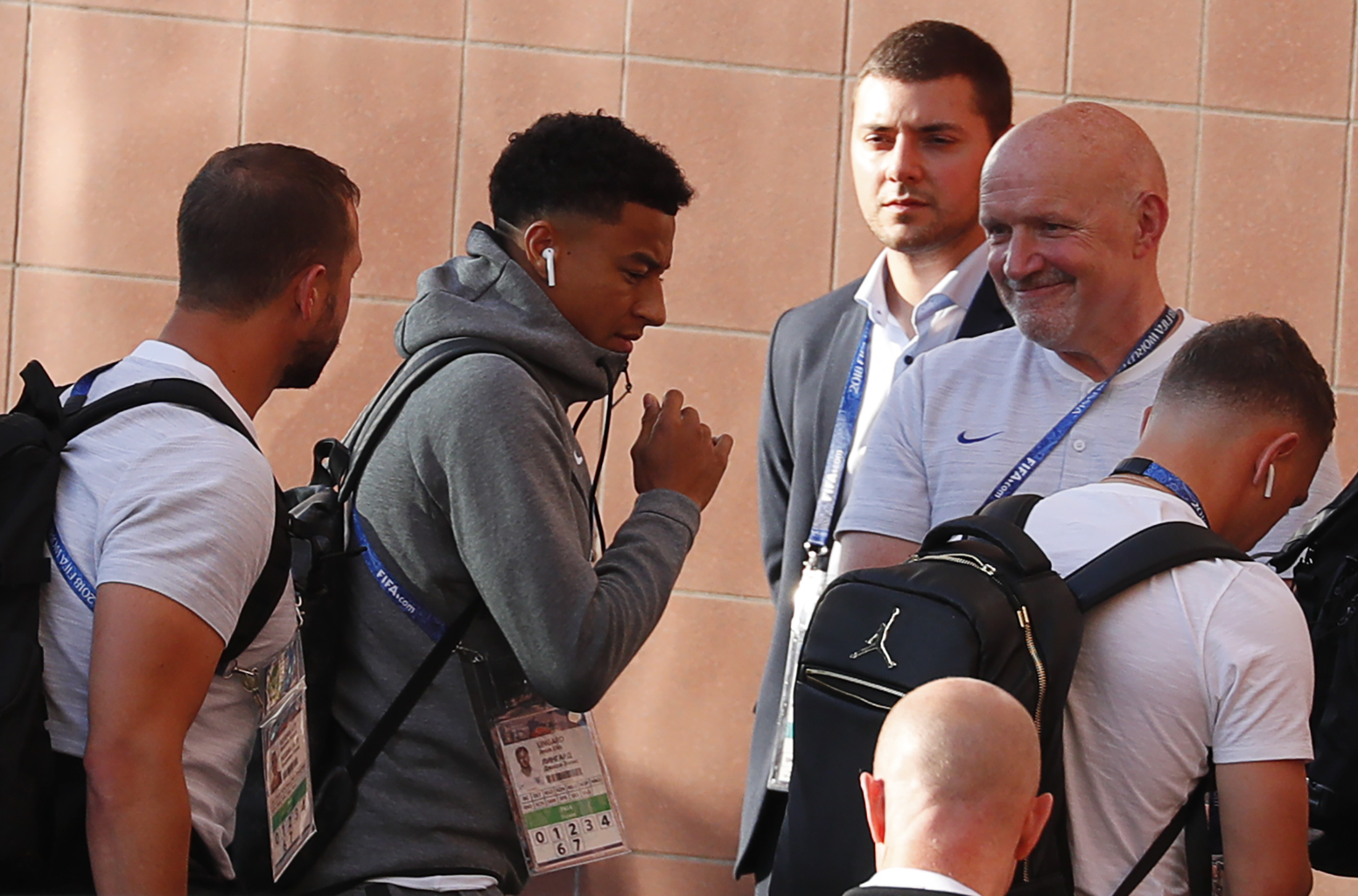 Soccer Football - World Cup - England Arrival - Samara, Russia - July 6, 2018. Jesse Lingard and other team members arrive at a hotel. REUTERS/David Gray - UP1EE7619PPGU