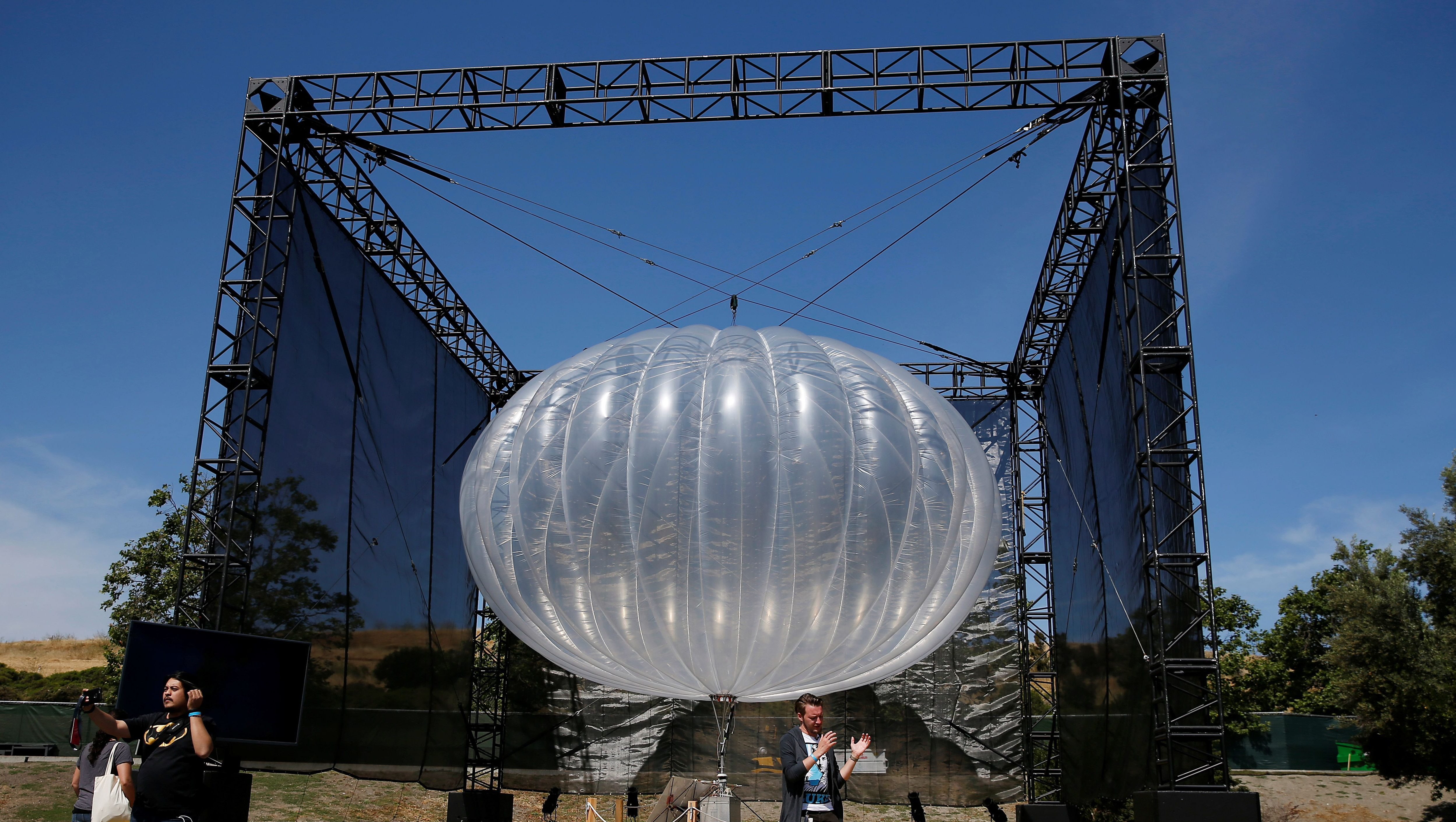 A Google Project Loon internet balloon is seen at the Google I/O 2016 developers conference in Mountain View, California May 19, 2016.