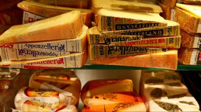 Swiss Appenzeller and other cheese is offered at a supermarket of Swiss retail group Coop in Zumikon