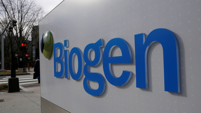 The Biogen logo outside its headquarters.