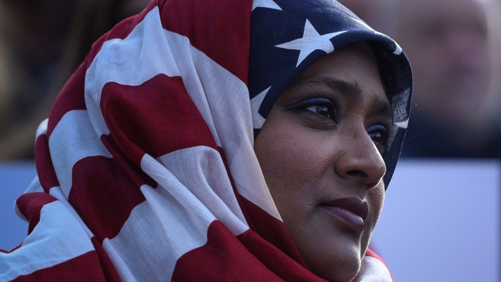 woman with american flag themed hijab