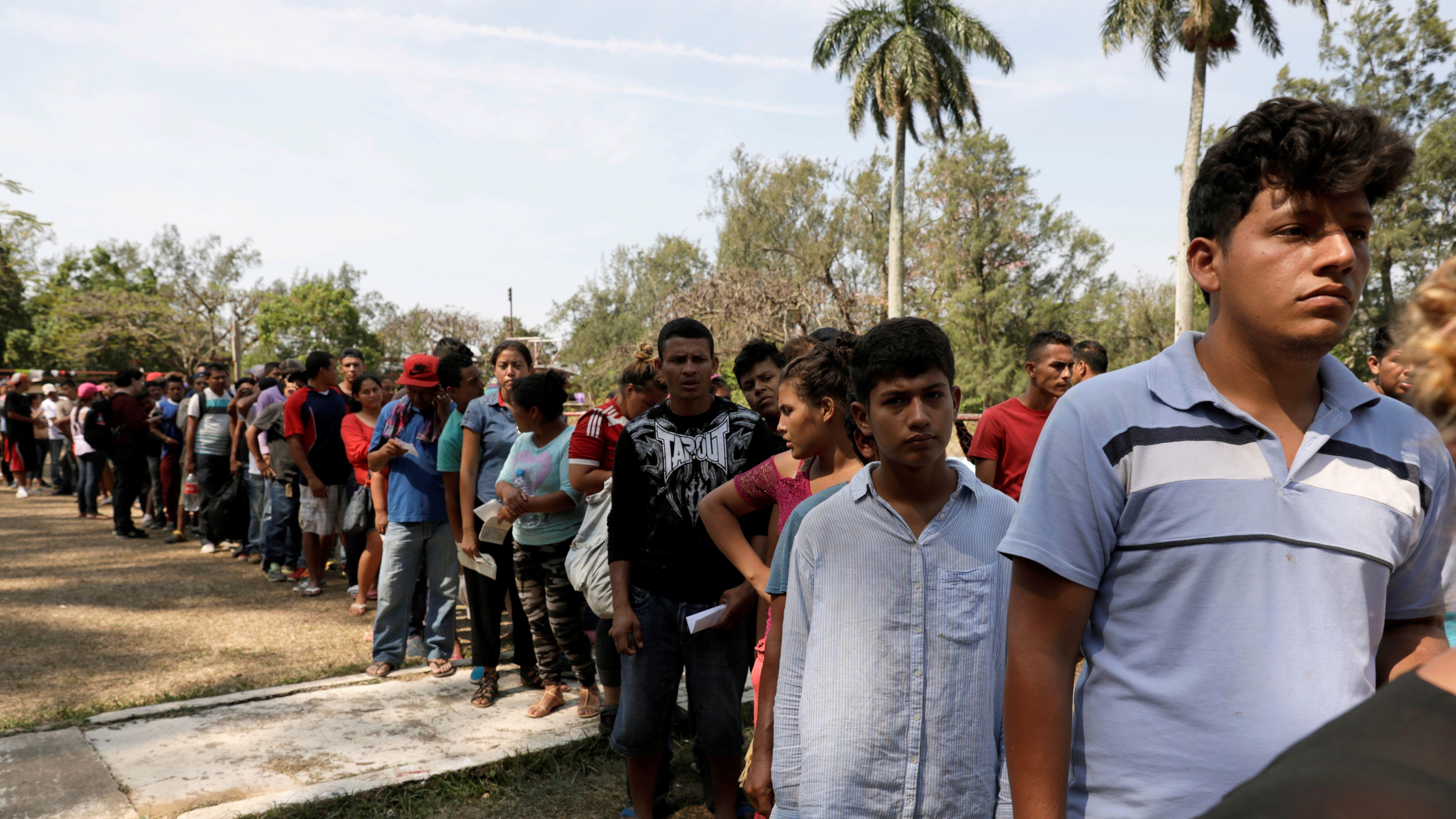 Central American migrants, part of a caravan moving through Mexico toward the U.S. border