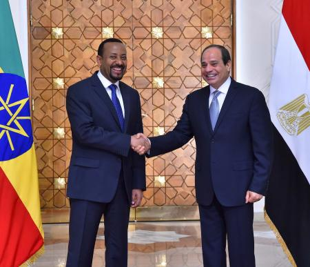 Egyptian President Abdel Fattah al-Sisi (R) shakes hands with Ethiopian Prime Minister Abiy Ahmed at the Ittihadiya presidential palace in Cairo, Egypt, June 10, 2018. in this handout picture courtesy of the Egyptian Presidency.