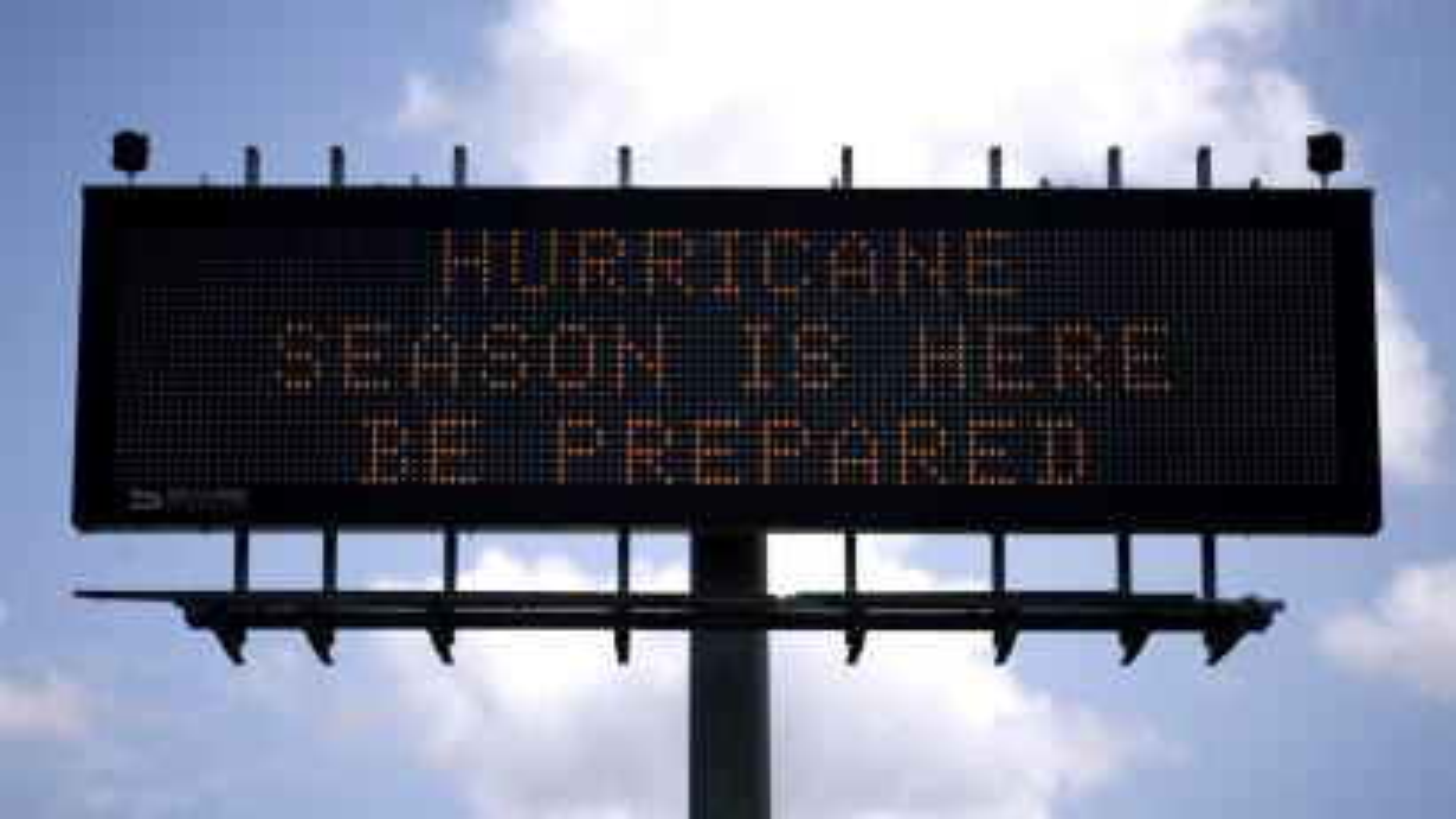 A traffic sign warns of hurricane season