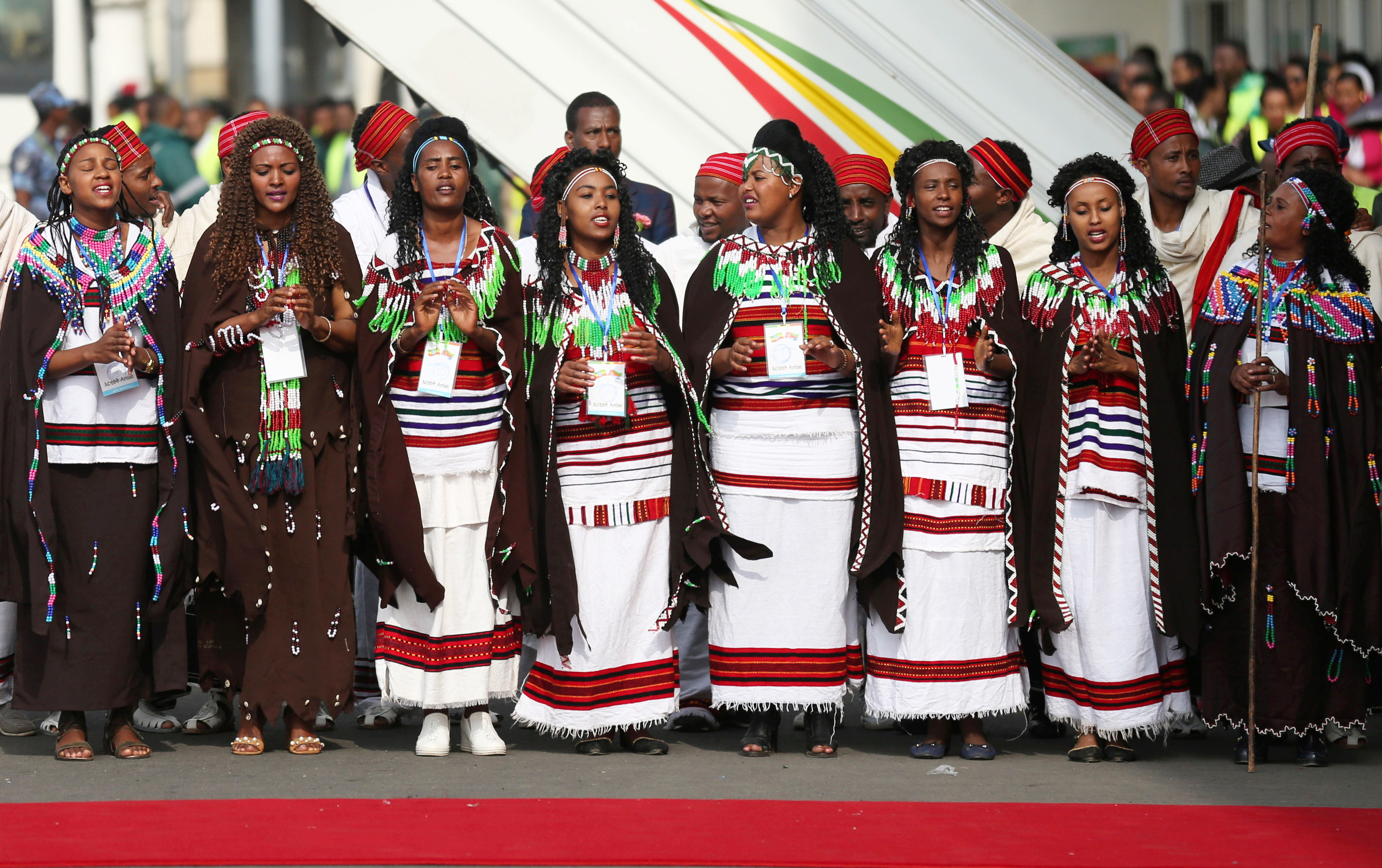 Traditional dancers perform during the welcoming ceremony of Eritrea's President Isaias Afwerki arriving for a three-day visit, at the Bole international airport in Addis Ababa, Ethiopia July 14, 2018.