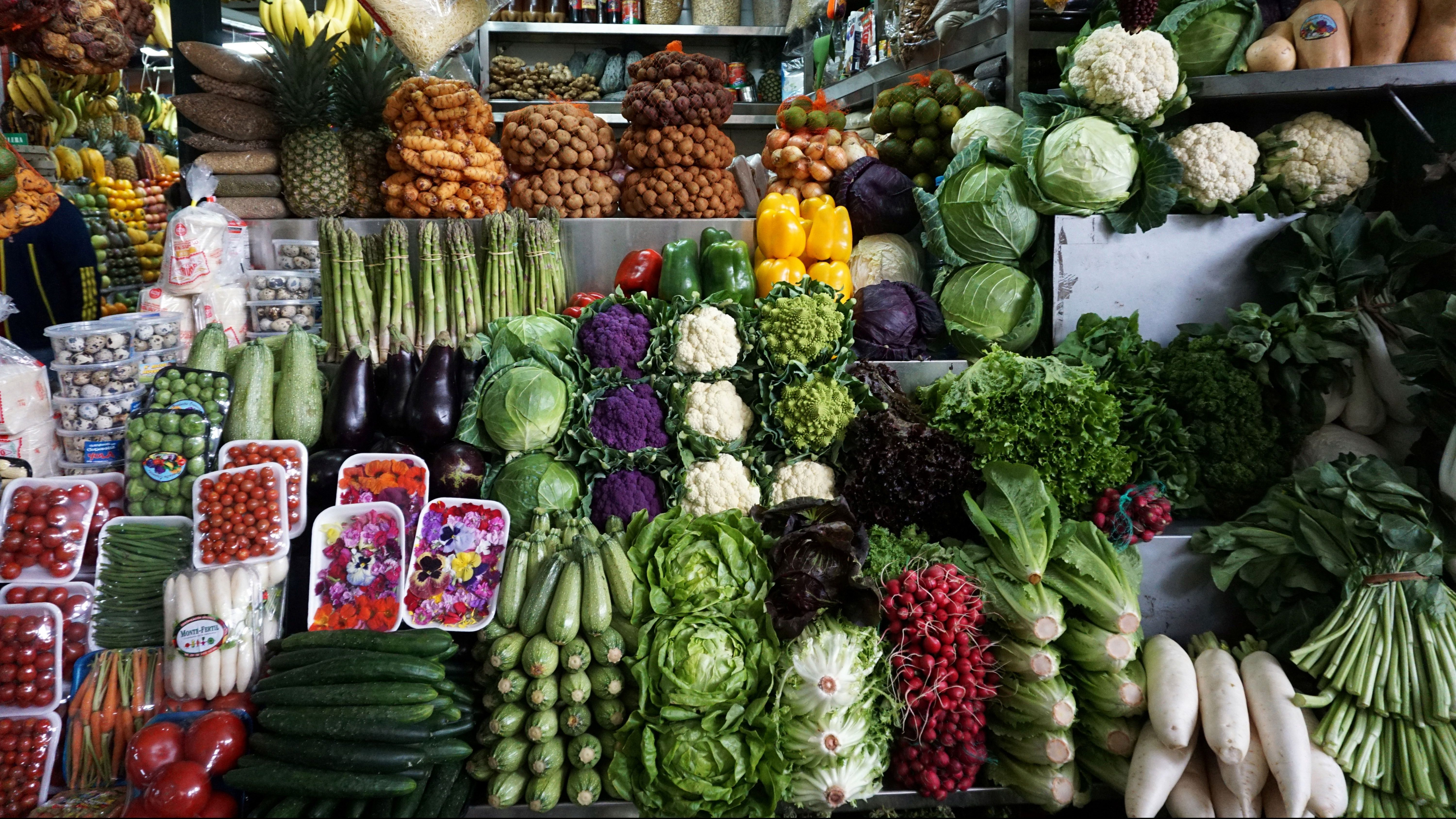 Vegetables are displayed for sale at a stand at Surquillo market in Lim