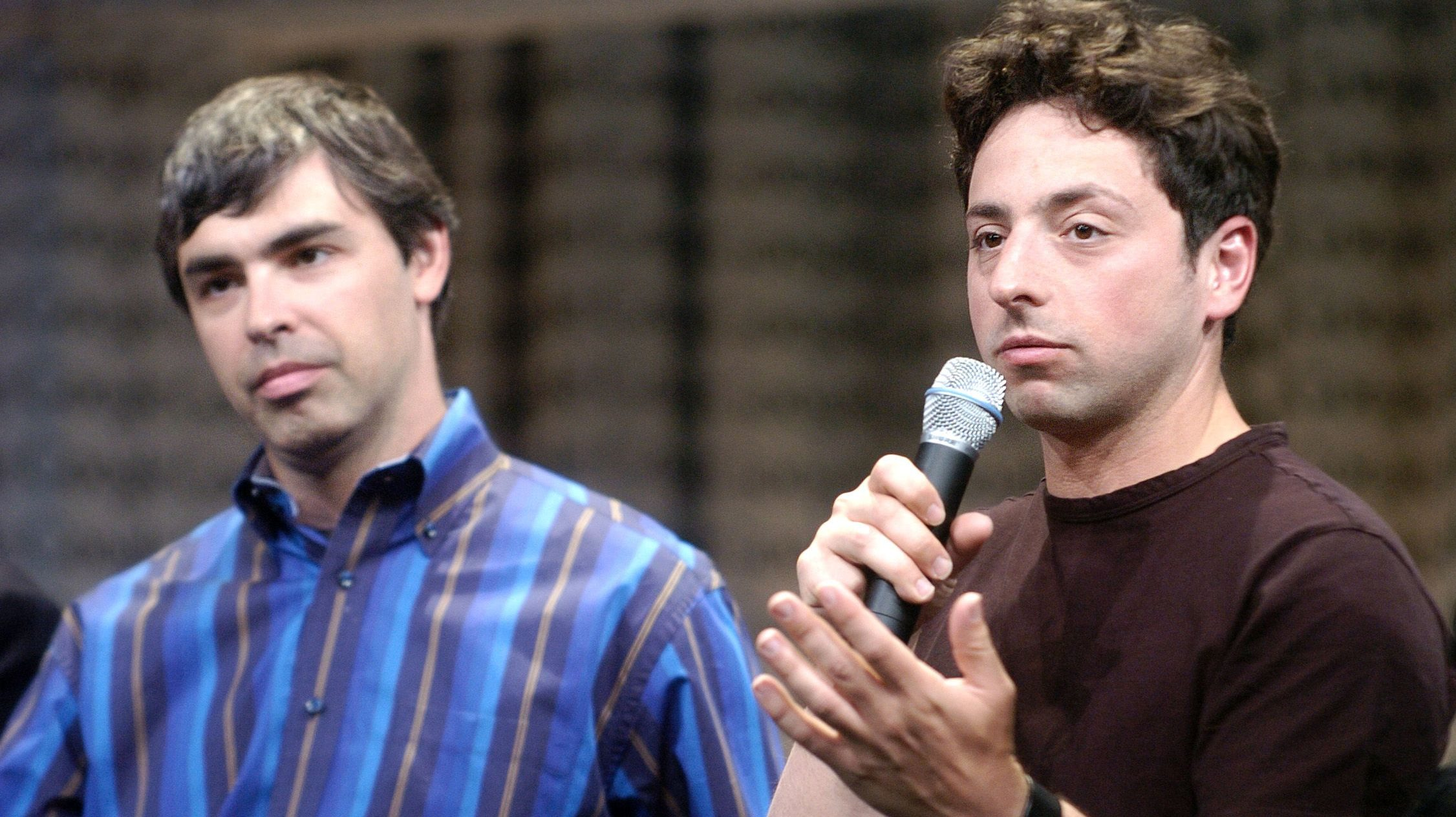 Google co-founders Sergey Brin (right) and Larry Page, circa 2007.